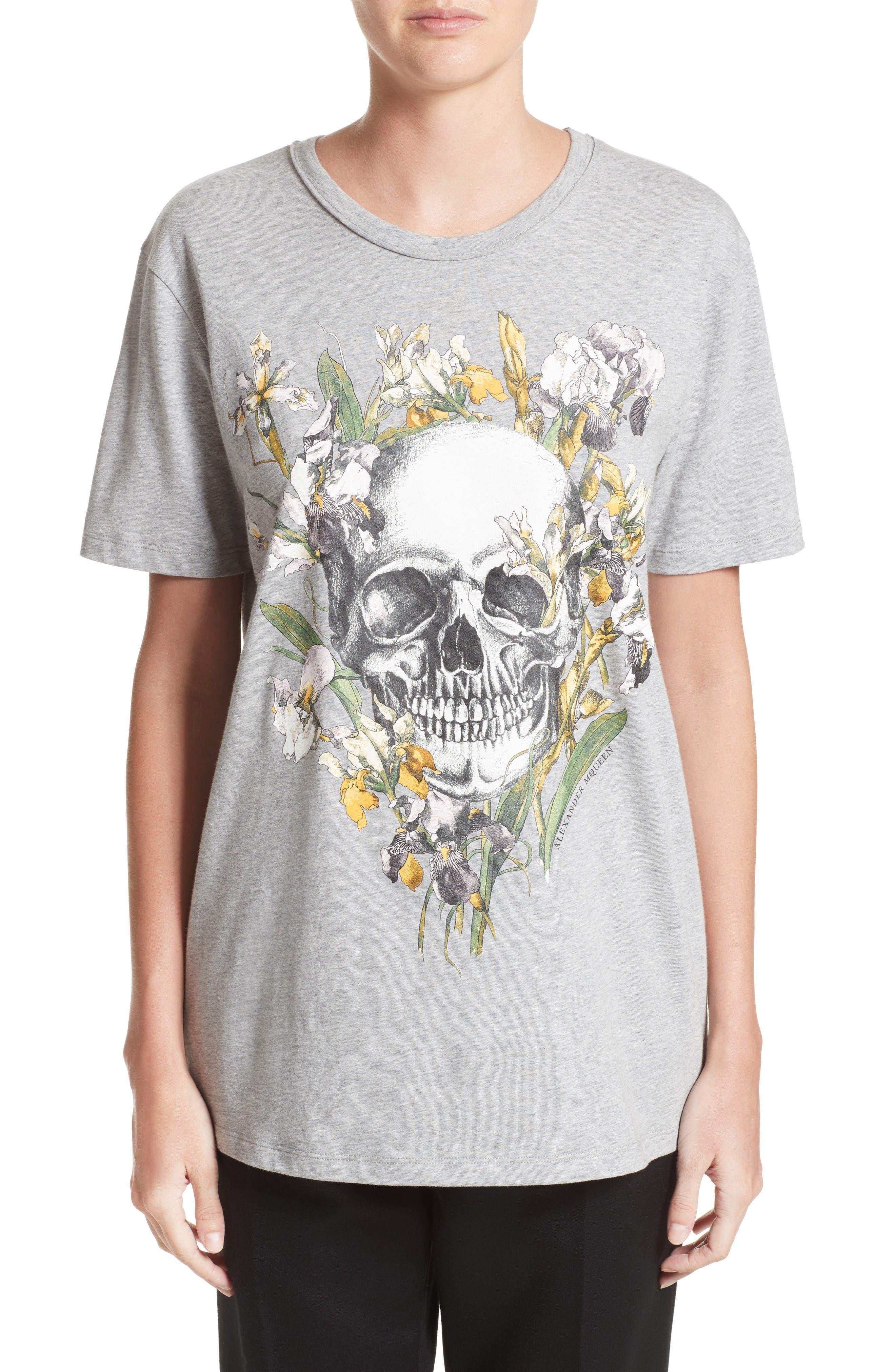 Skull & Iris Graphic Tee,                             Main thumbnail 1, color,                             Grey Melange