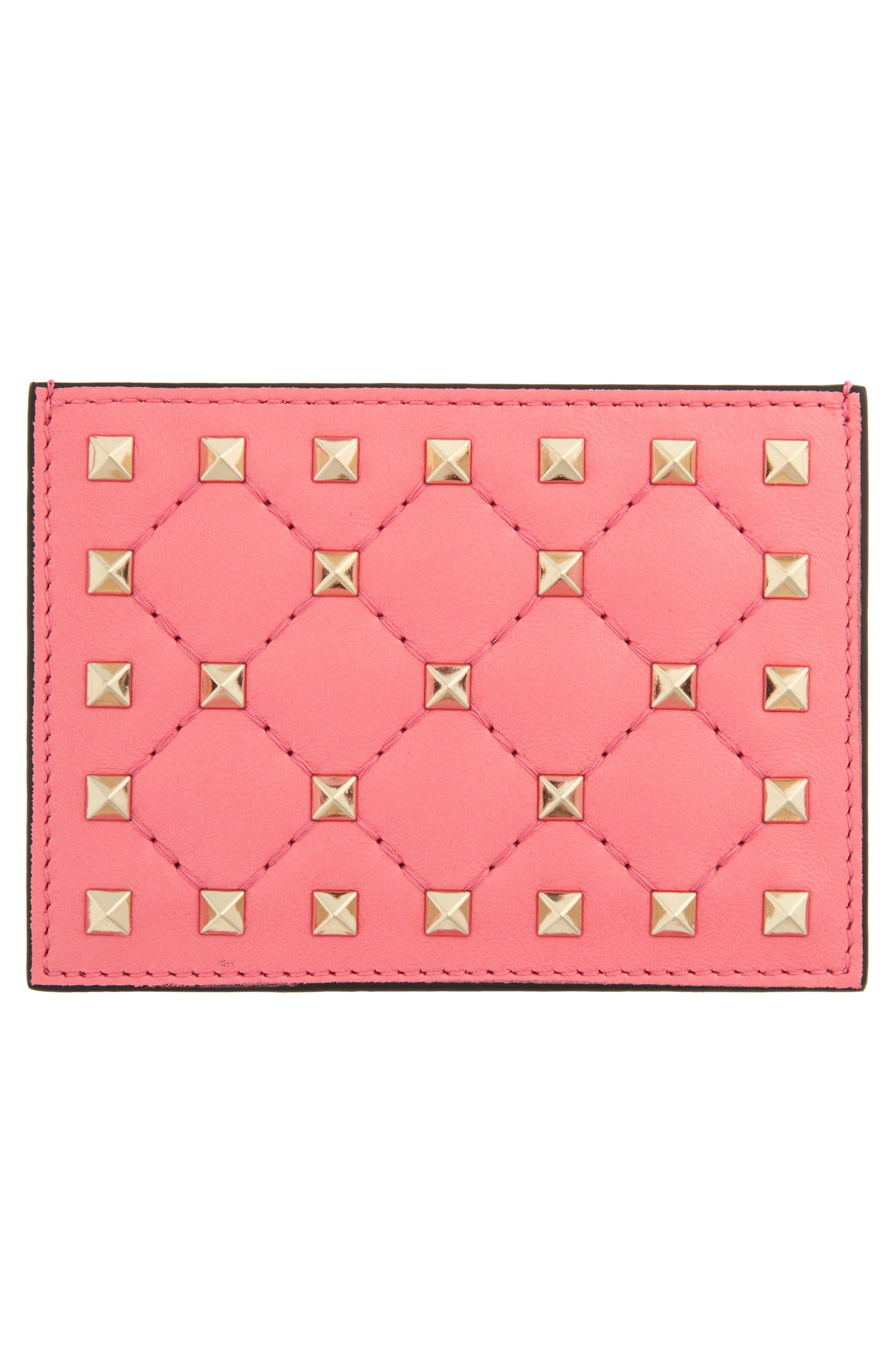 Rockstud Nappa Leather Card Case,                             Alternate thumbnail 3, color,                             Paradise Rose
