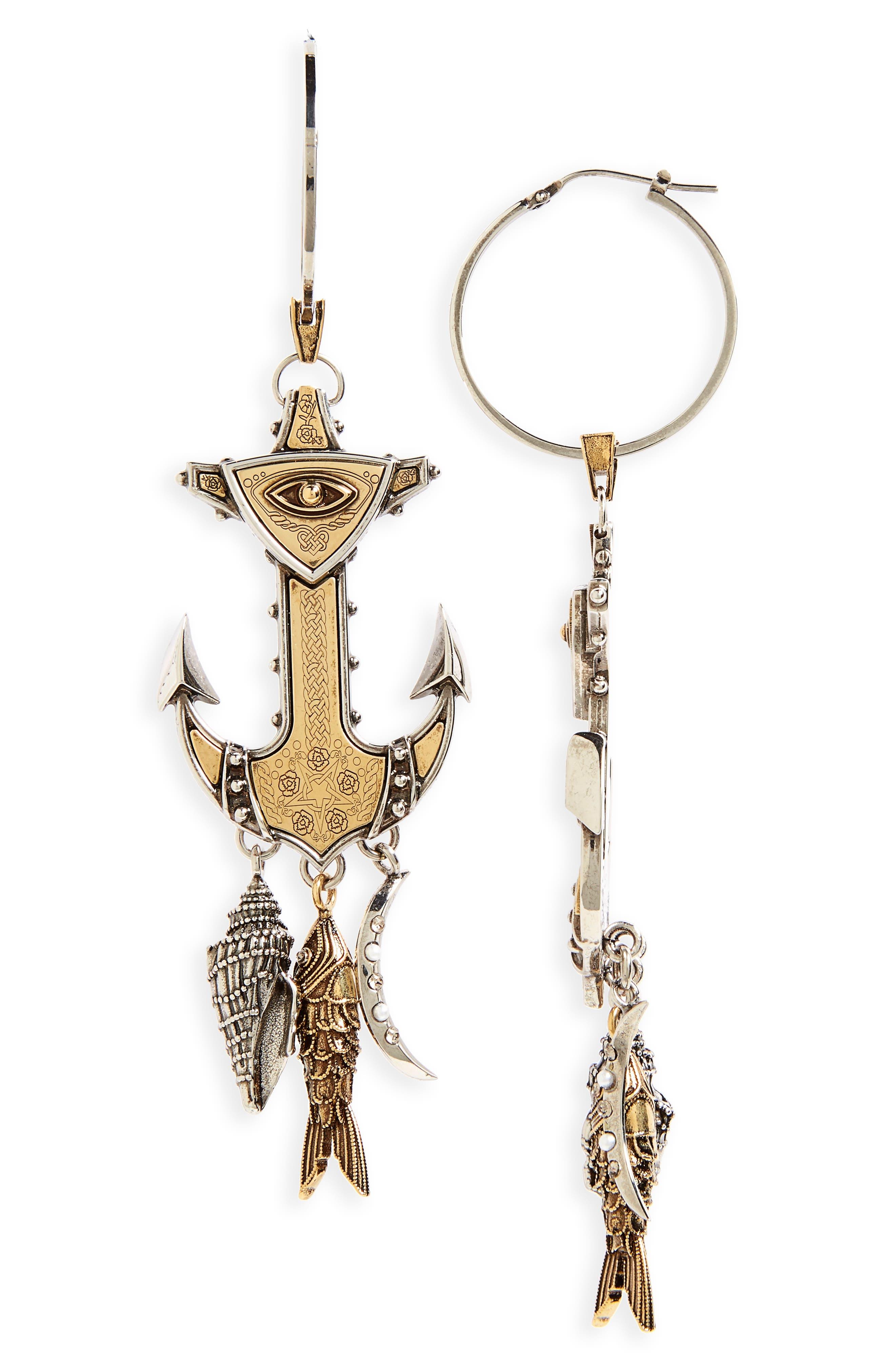 Anchor Linear Earrings,                         Main,                         color, Silver