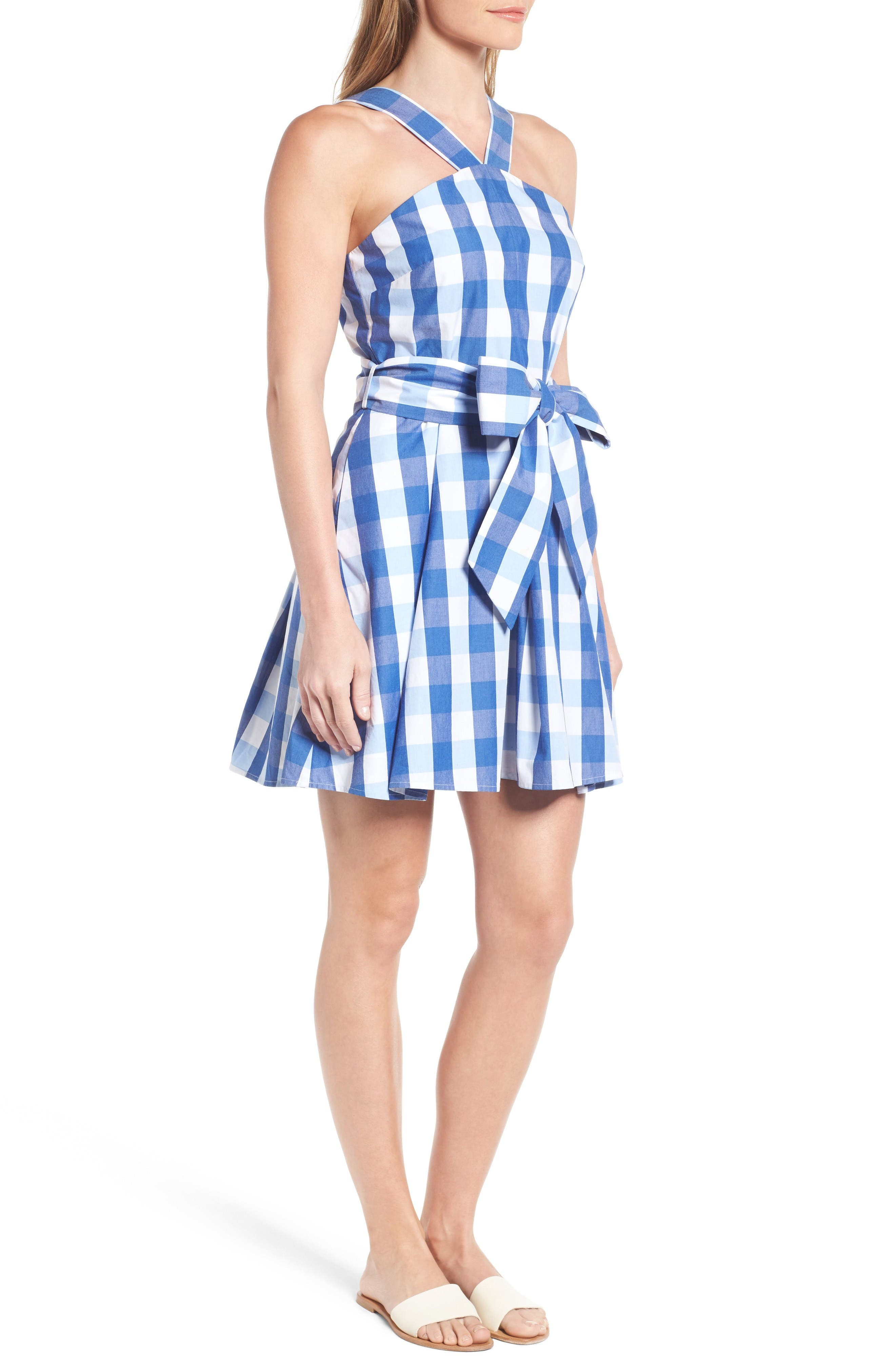 Mary Beth Cotton Sundress,                             Alternate thumbnail 5, color,                             Blue Parton Check