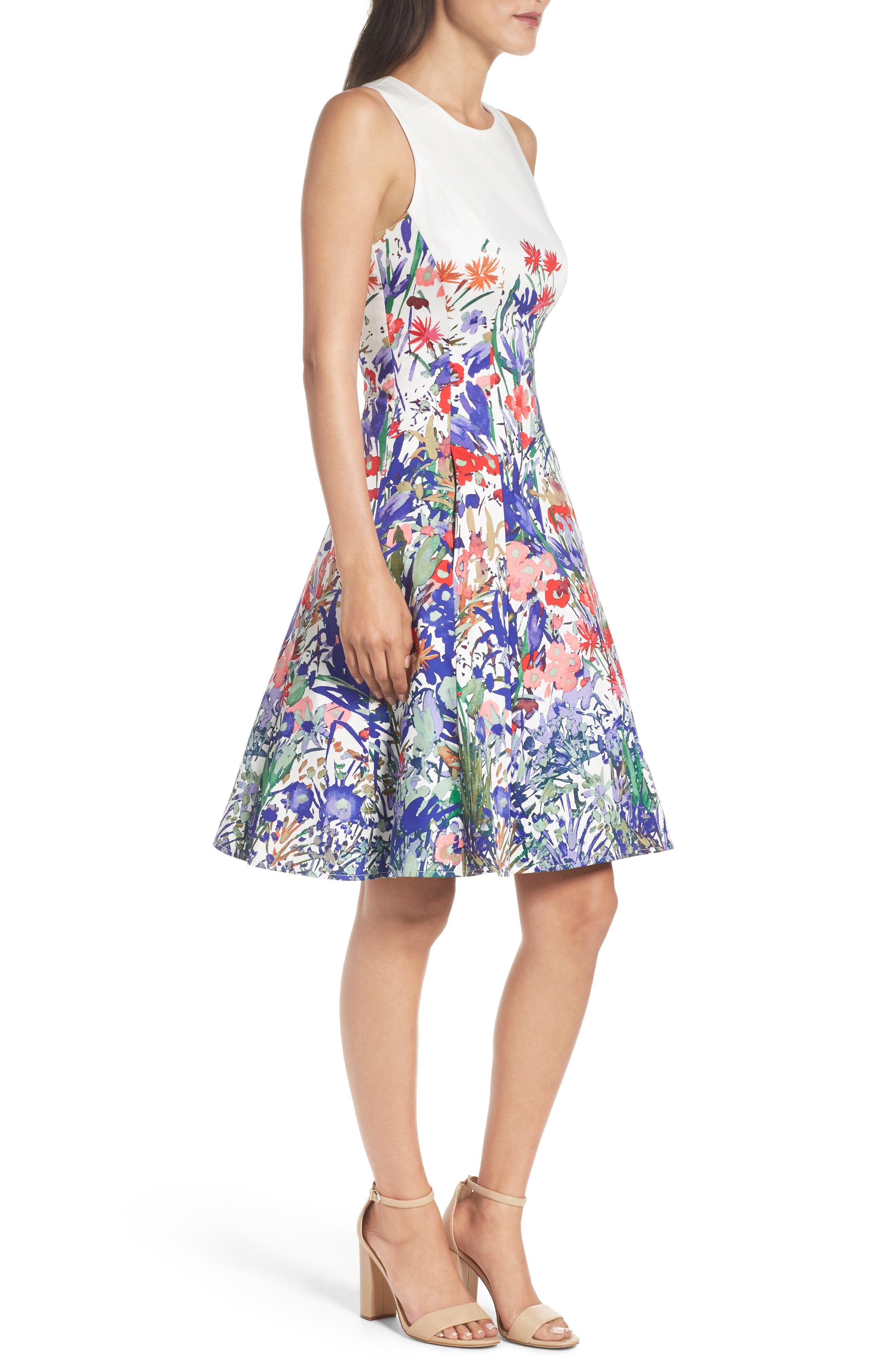 Cottage Garden Fit & Flare Dress,                             Alternate thumbnail 3, color,                             Soft White/ Coral/ Purple