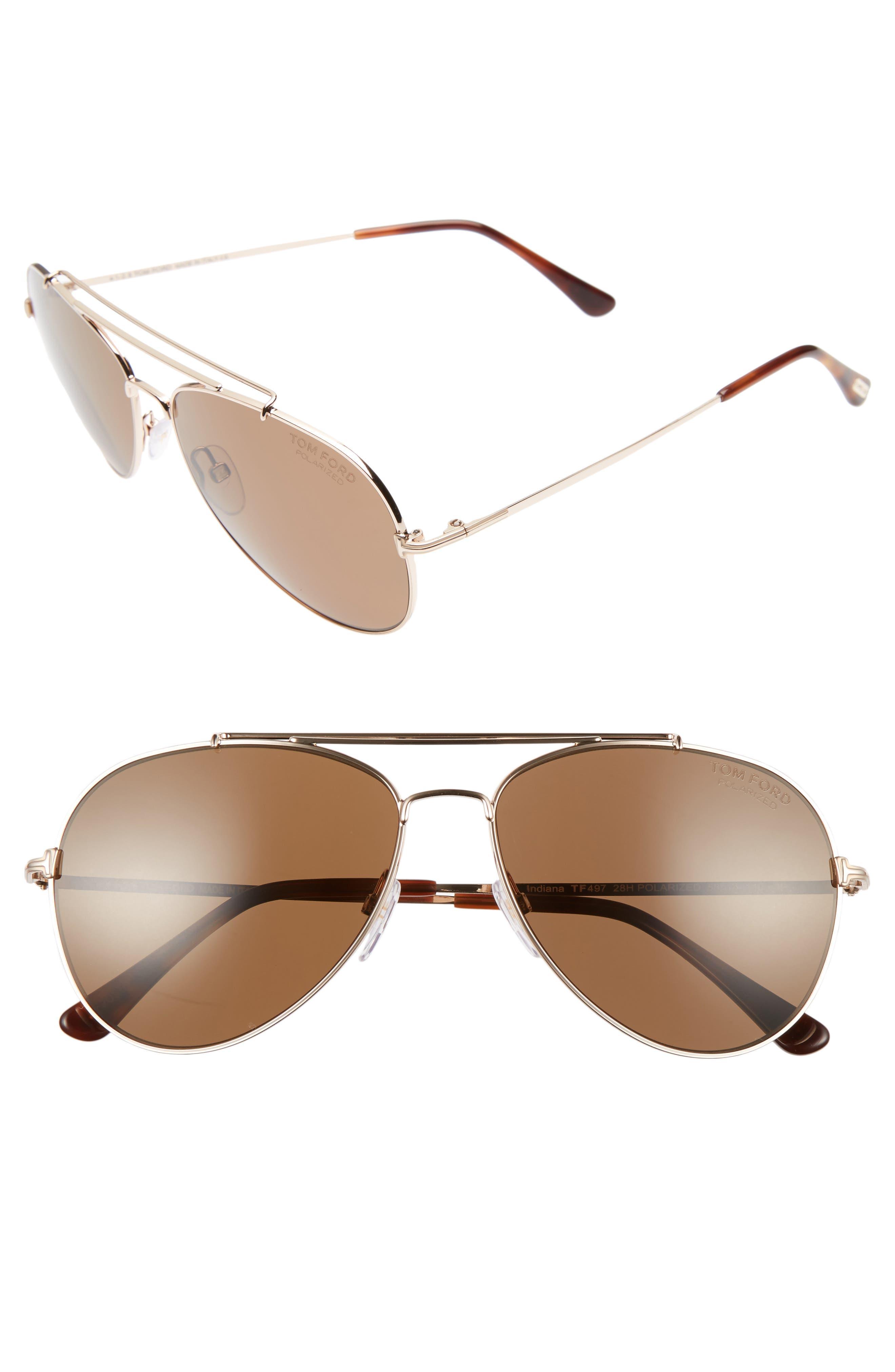 Alternate Image 1 Selected - Tom Ford Indiana 58mm Polarized Aviator Sunglasses