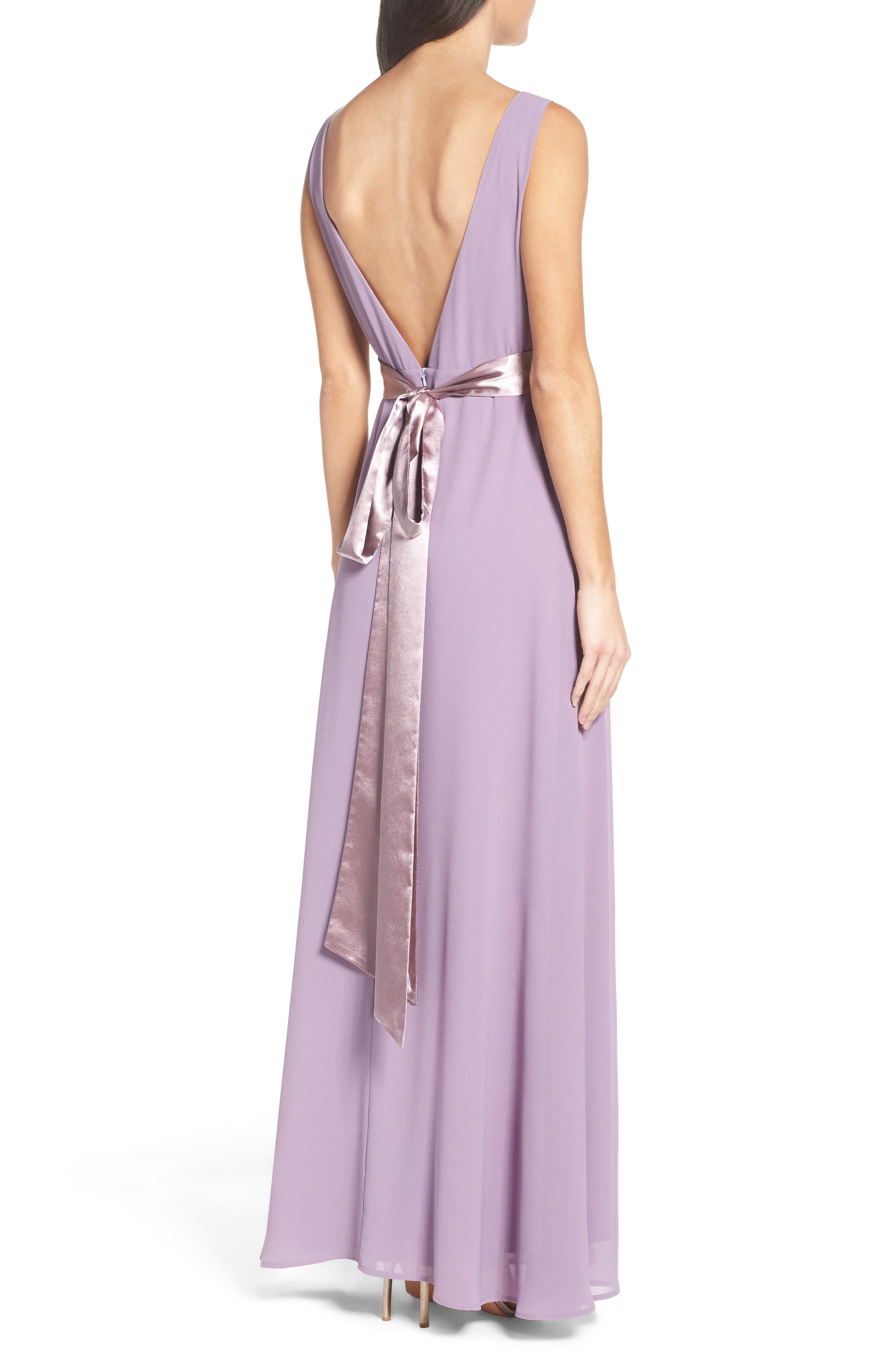 Belted V-Back Chiffon Gown,                             Alternate thumbnail 2, color,                             Dusty Violet
