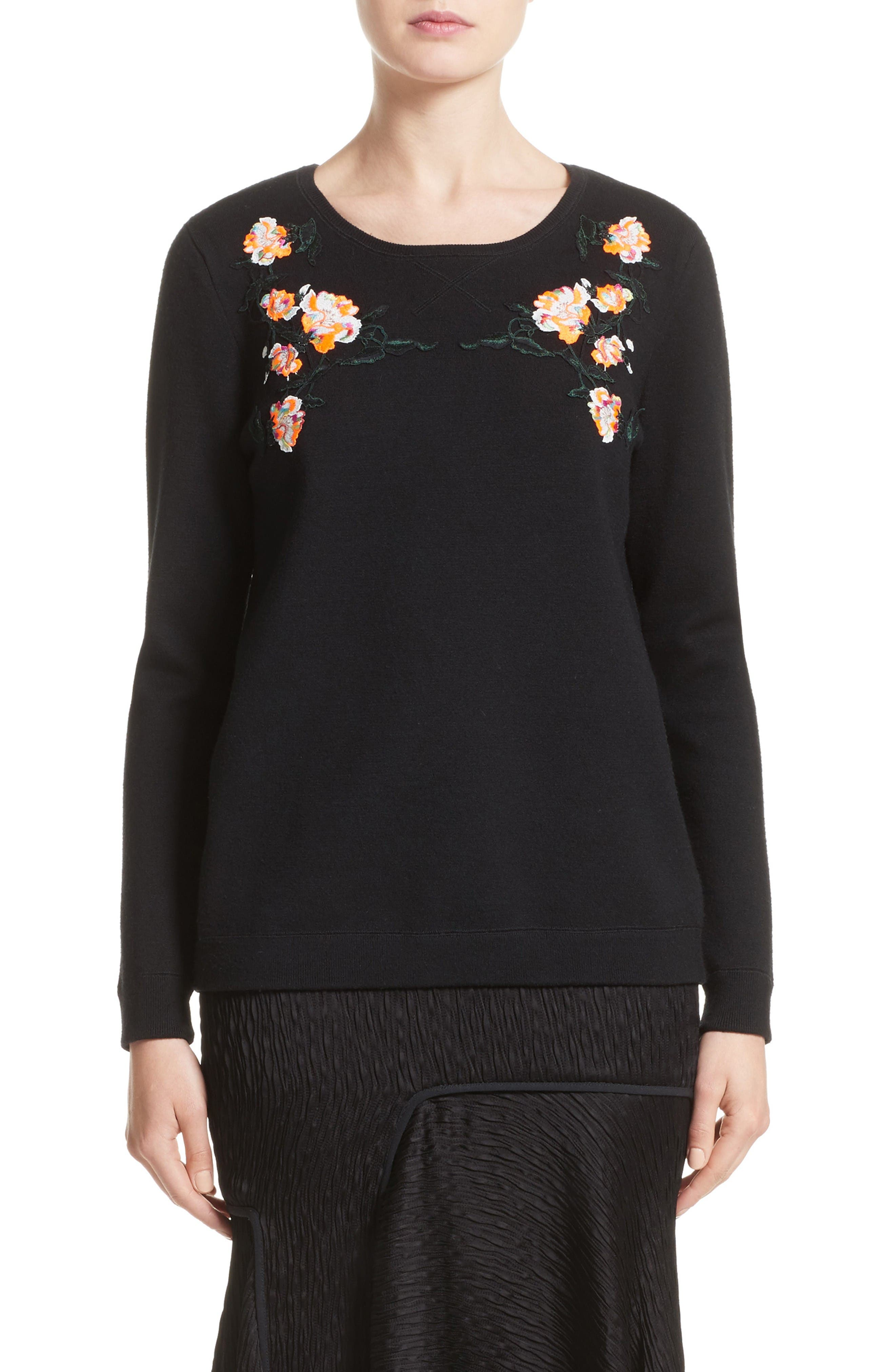 Floral Embroidered Merino Wool Blend Sweater,                             Main thumbnail 1, color,                             Black