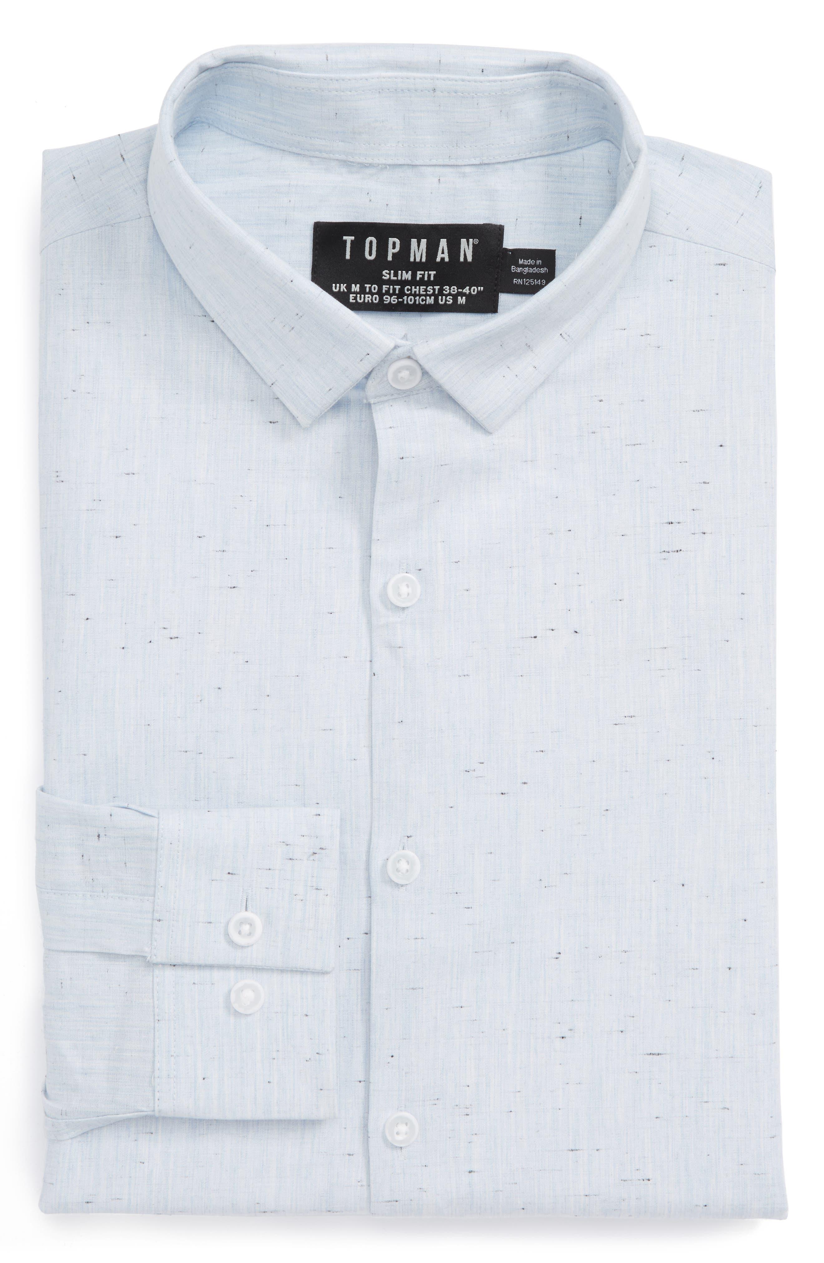 Alternate Image 1 Selected - Topman Slim Fit Nep Shirt