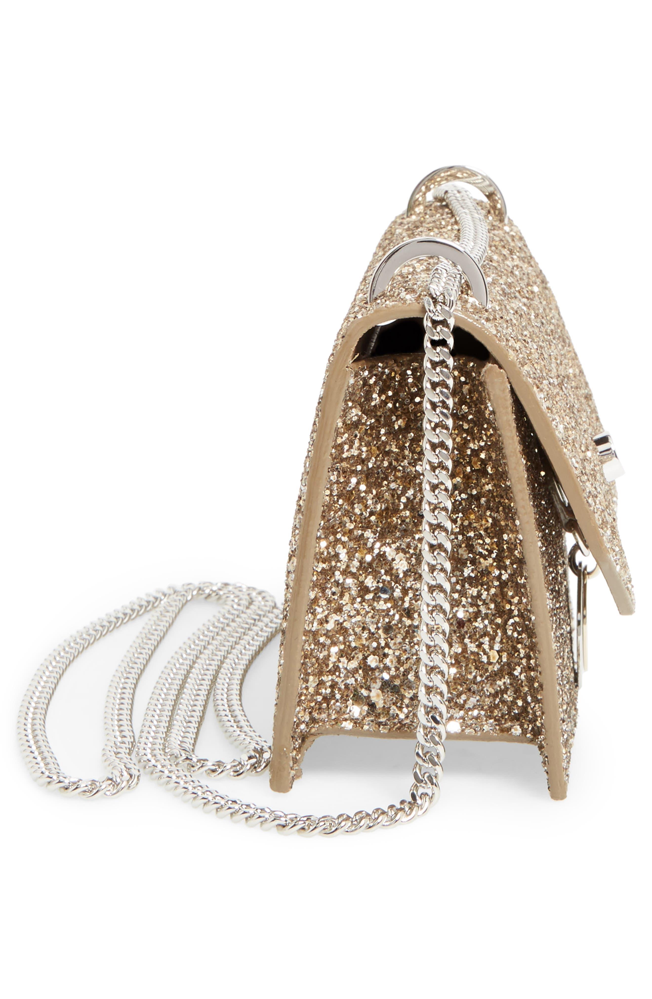 Finley Shadow Glitter Shoulder Bag,                             Alternate thumbnail 5, color,                             Antique Gold