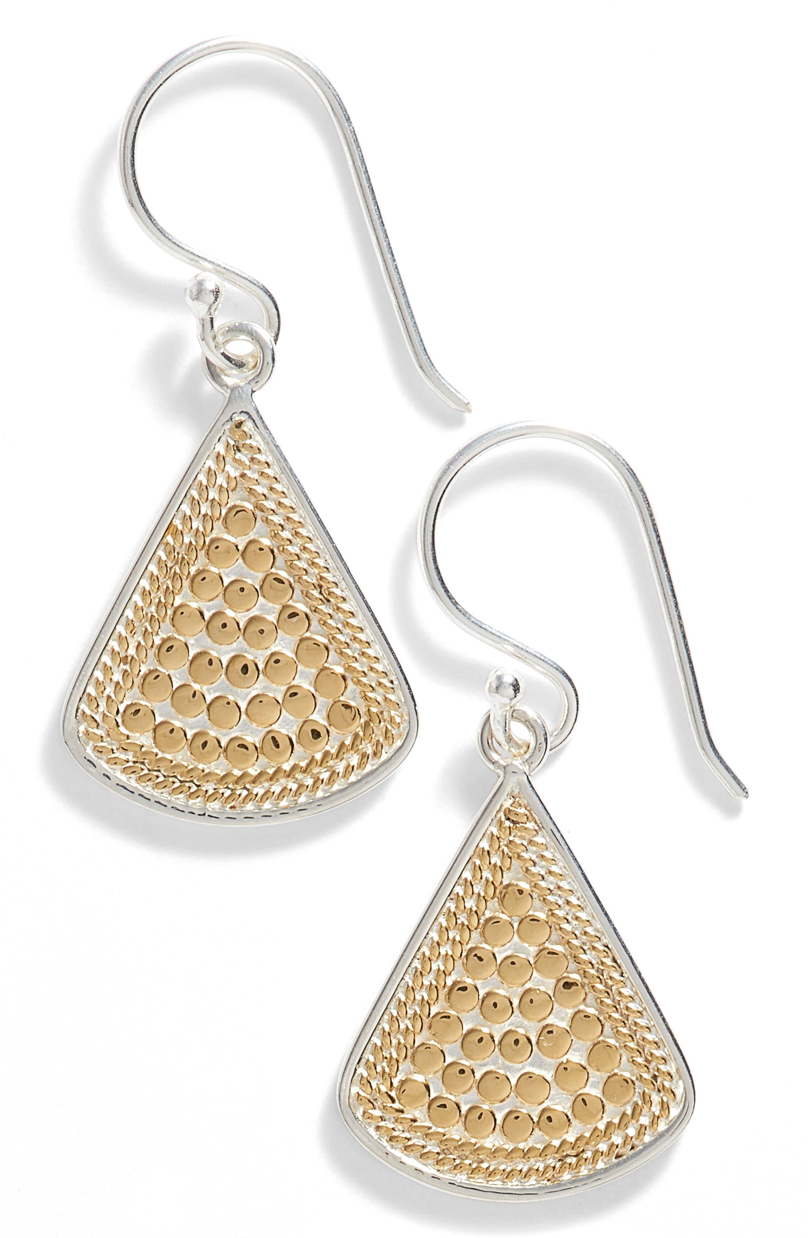 Fan Drop Earrings,                         Main,                         color, Gold