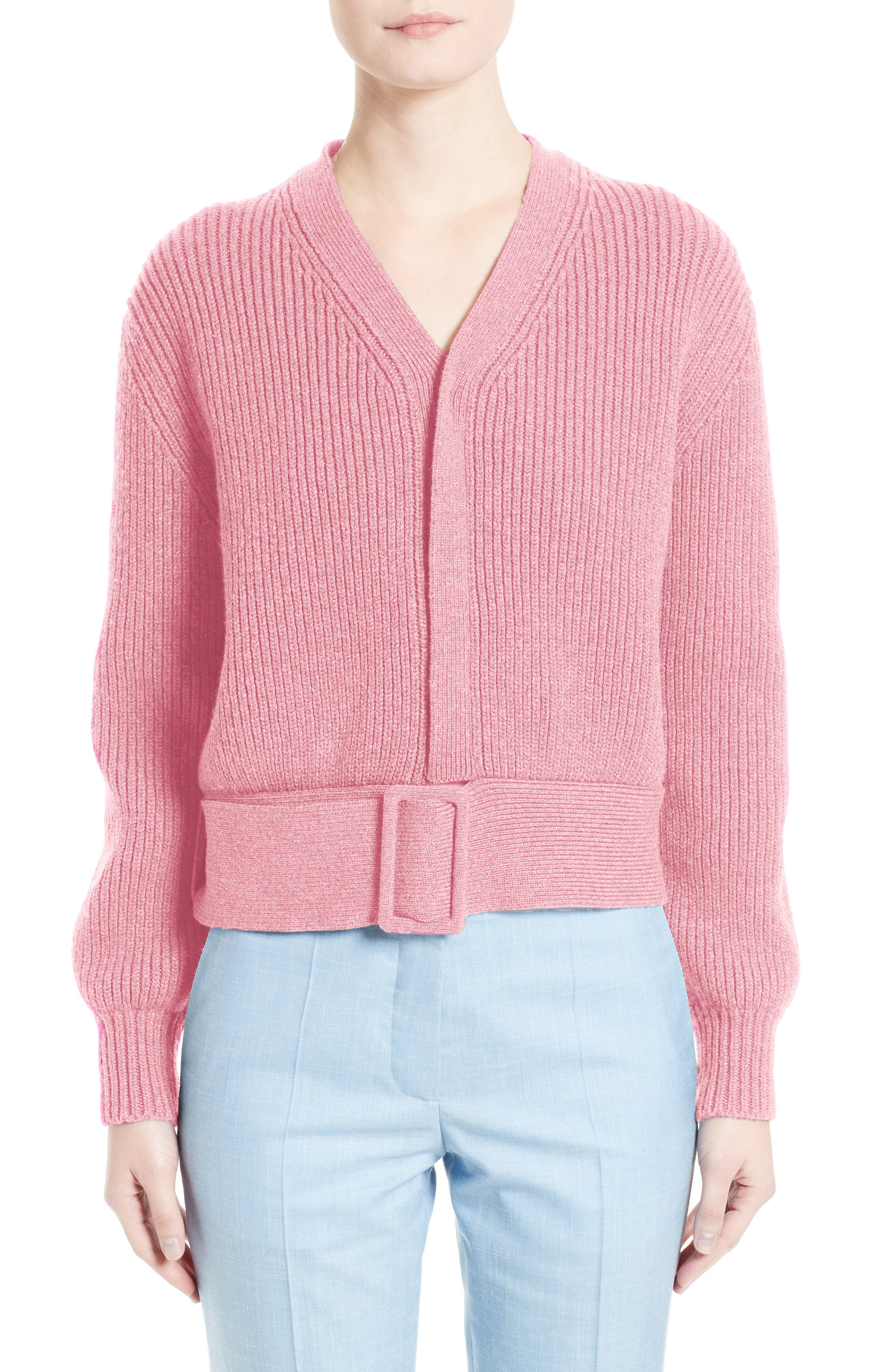 Belted Wool Sweater,                             Main thumbnail 1, color,                             Nougat