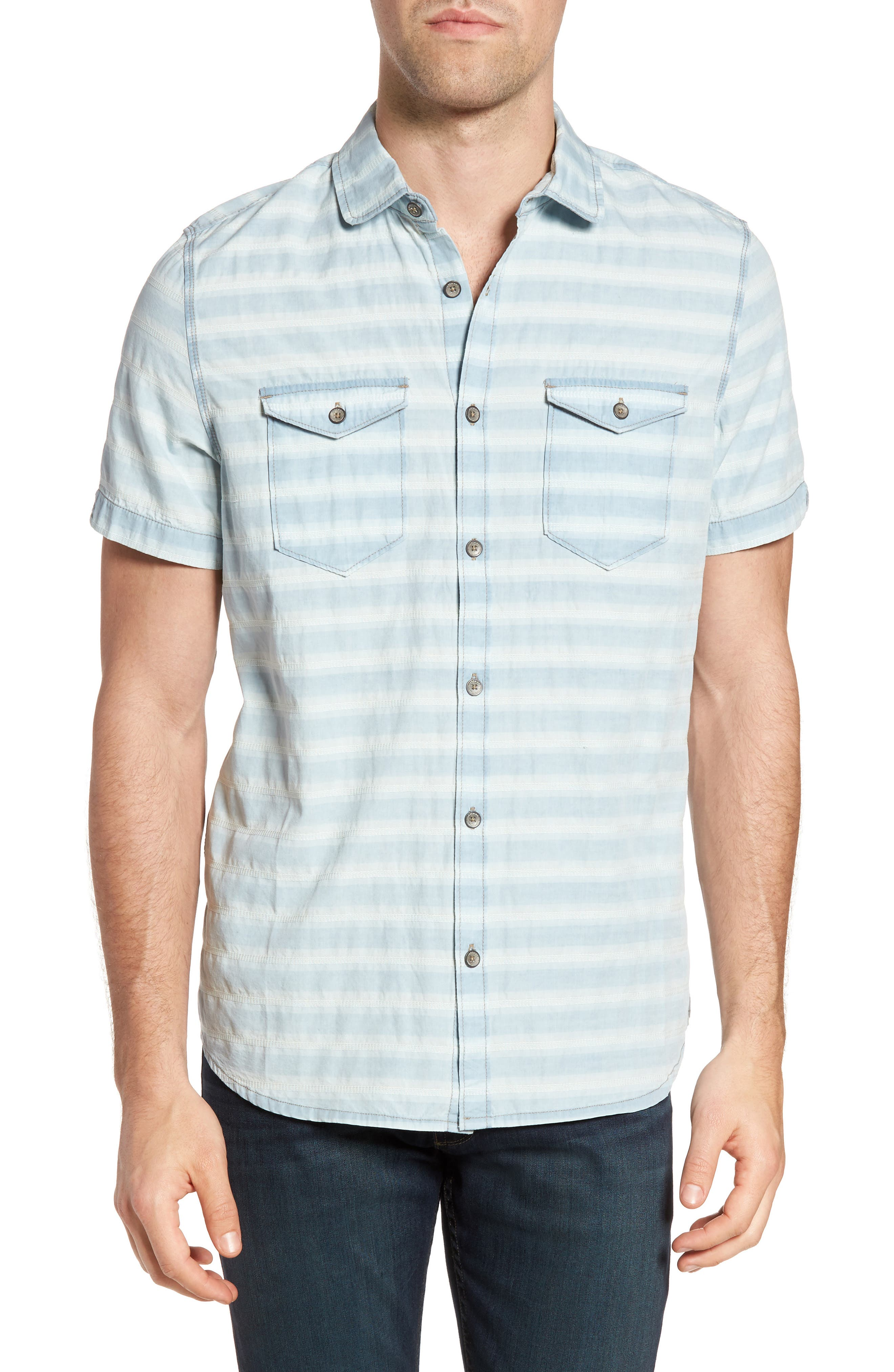 Abbott Regular Fit Dobby Stripe Sport Shirt,                         Main,                         color, Cloud