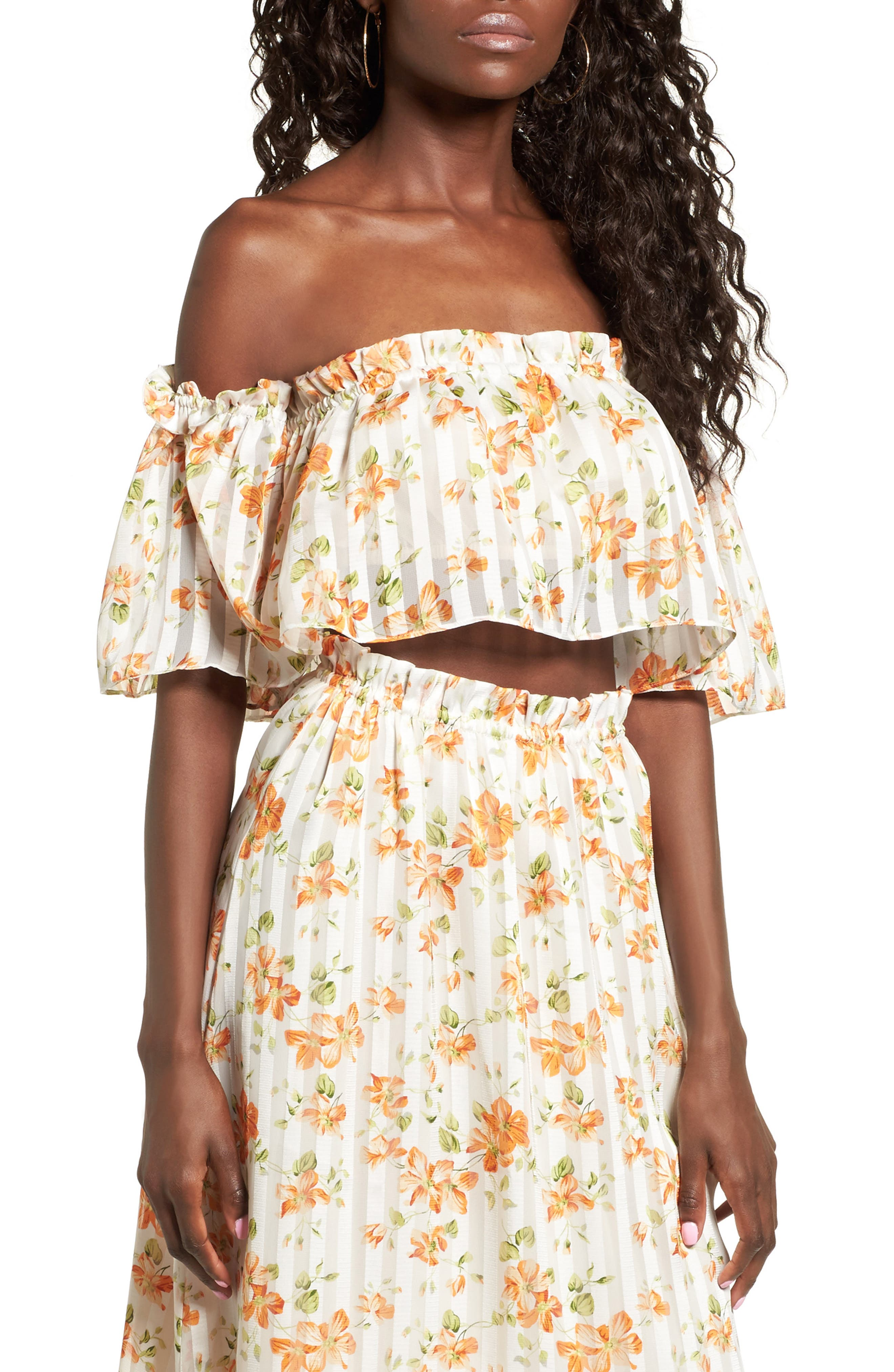 Privacy Please Parsons Floral Off-the-Shoulder Top