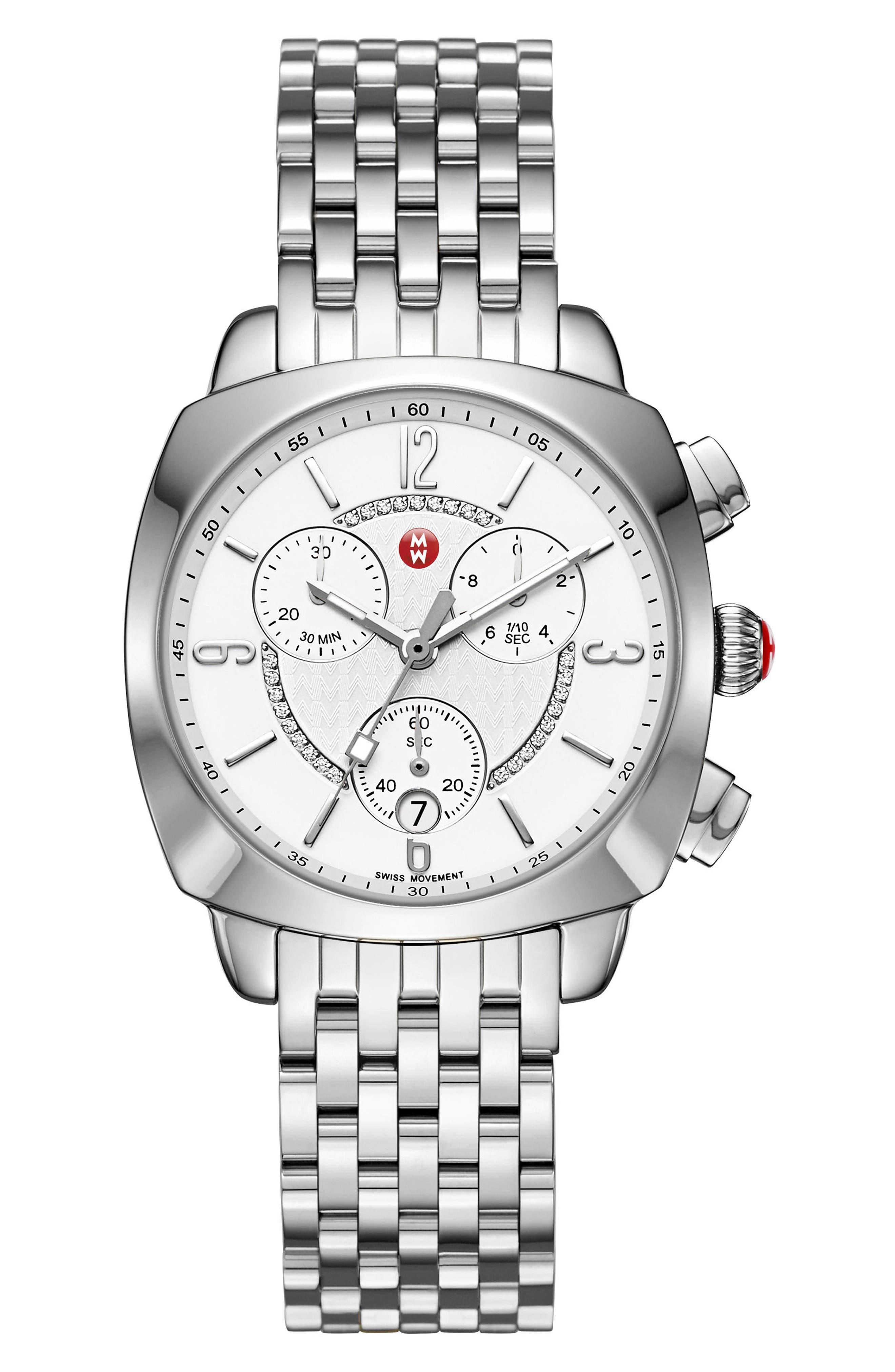 MICHELE Ascalon Diamond Dial Chronograph Watch Head & Bracelet, 38mm
