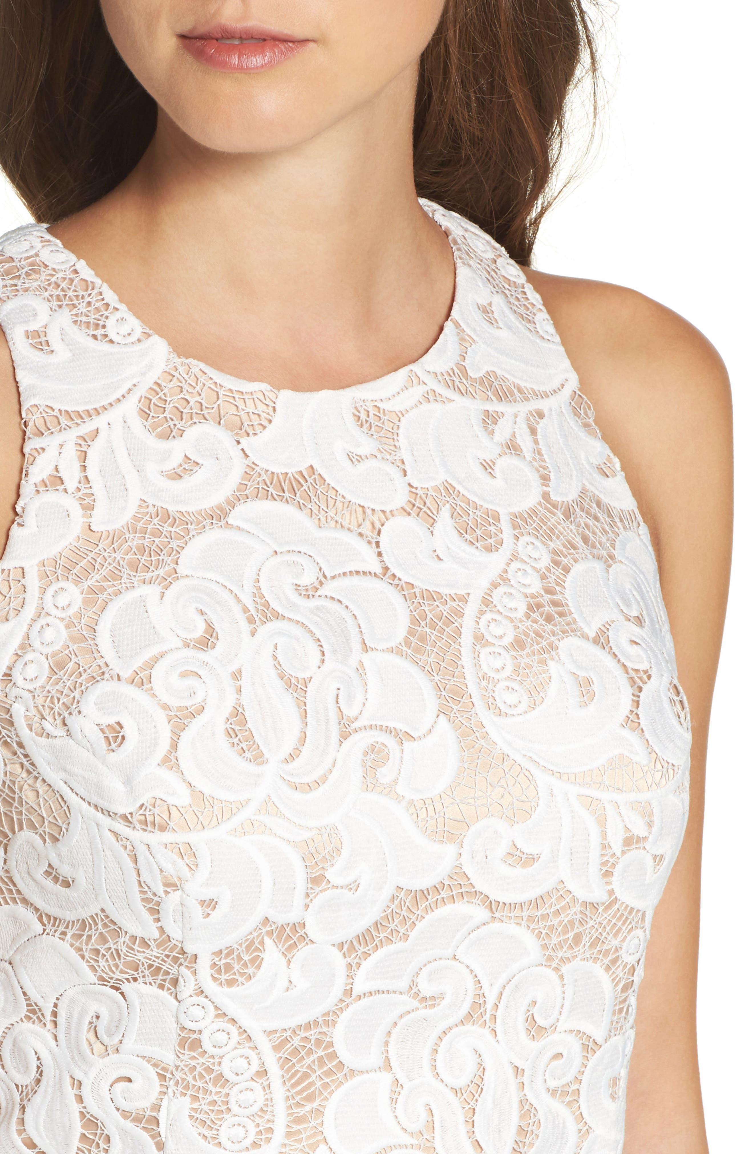 Lace Sheath Dress,                             Alternate thumbnail 5, color,                             Ivory