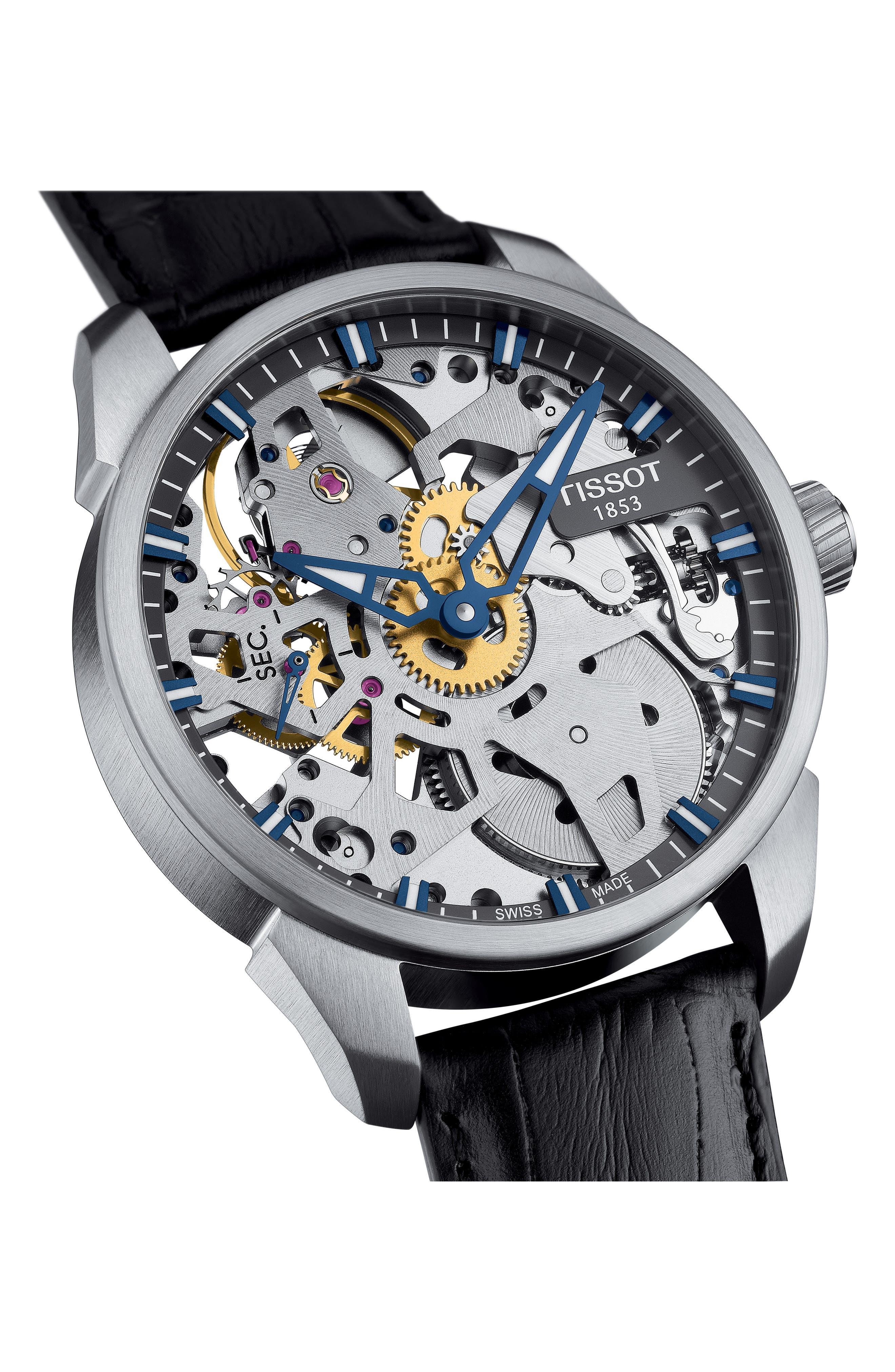 T-Complicated Squellette Mechanical Watch, 43mm,                             Alternate thumbnail 2, color,                             Black/ Silver