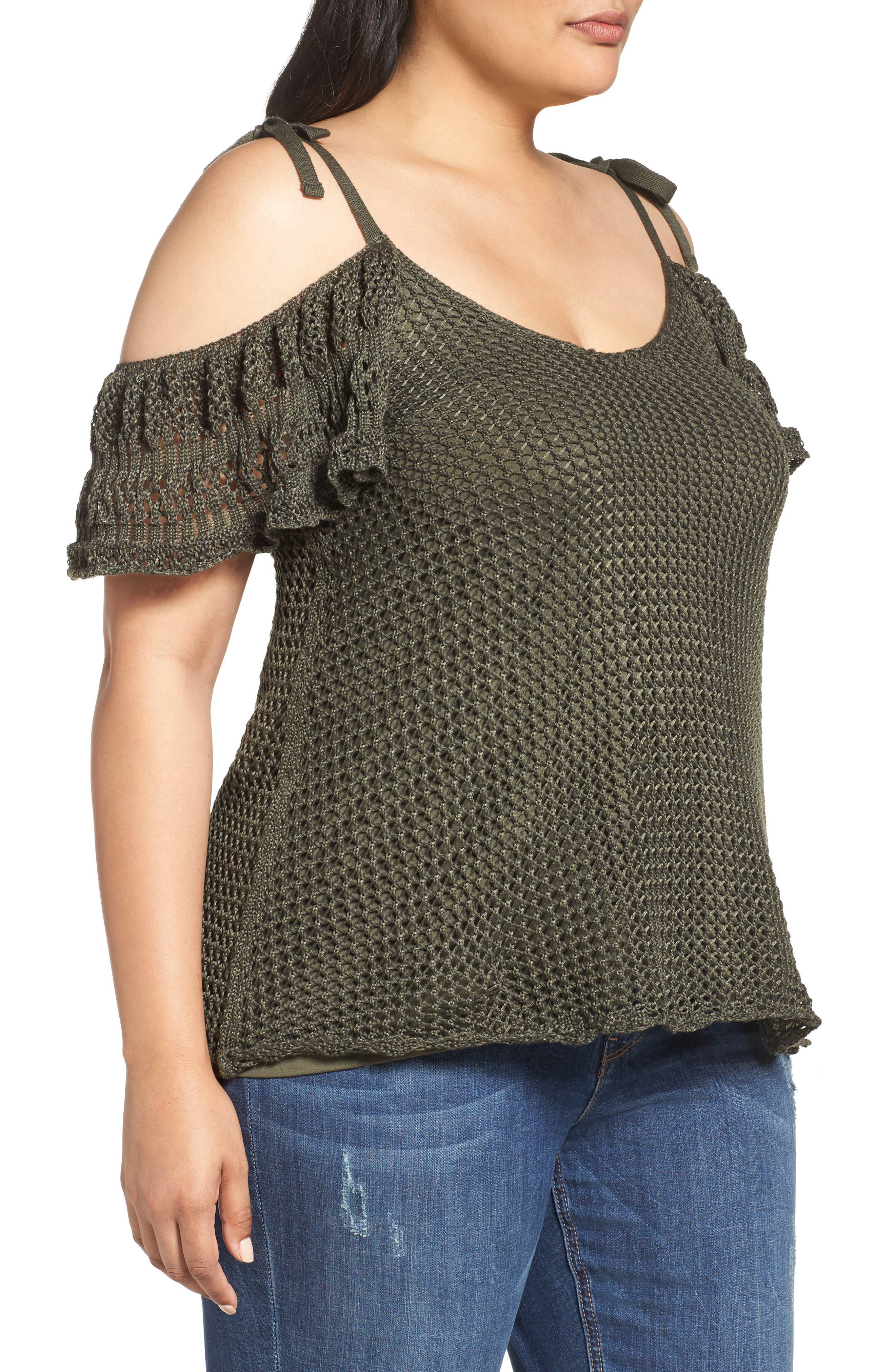 Crochet Cold Shoulder Top,                             Alternate thumbnail 4, color,                             Khaki