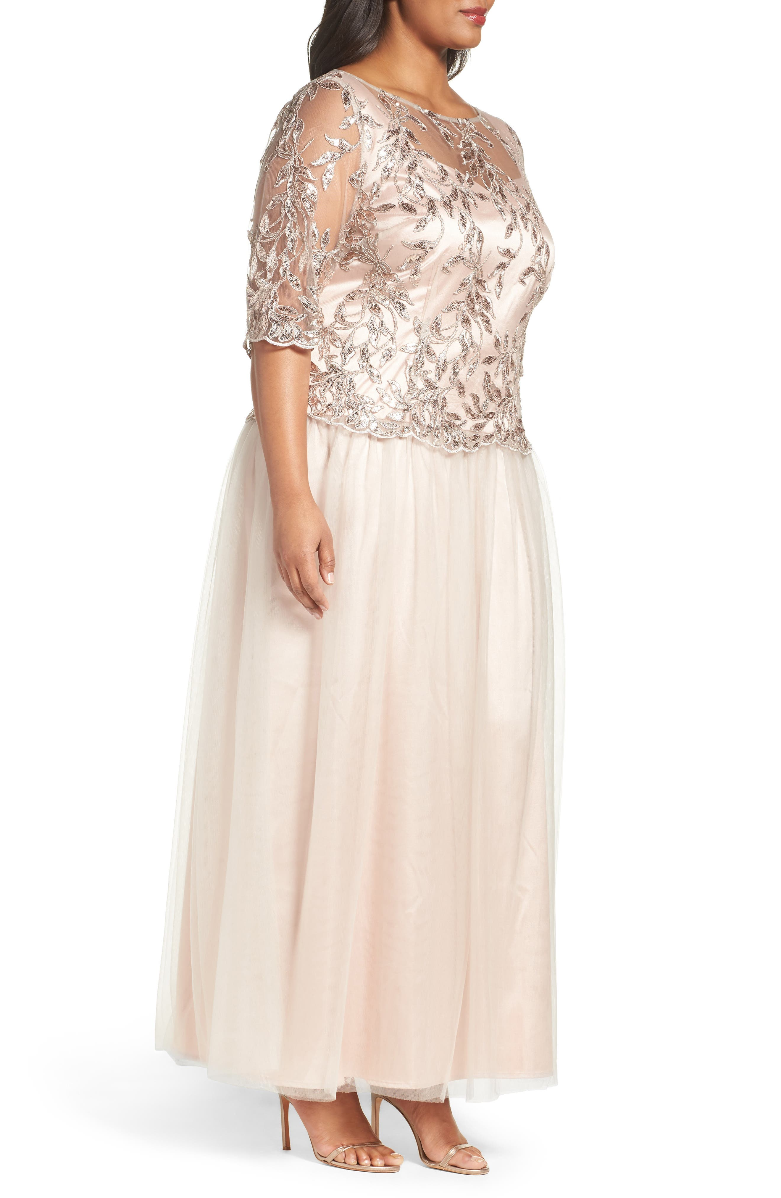 Embellished Mesh Gown,                             Alternate thumbnail 3, color,                             Champagne
