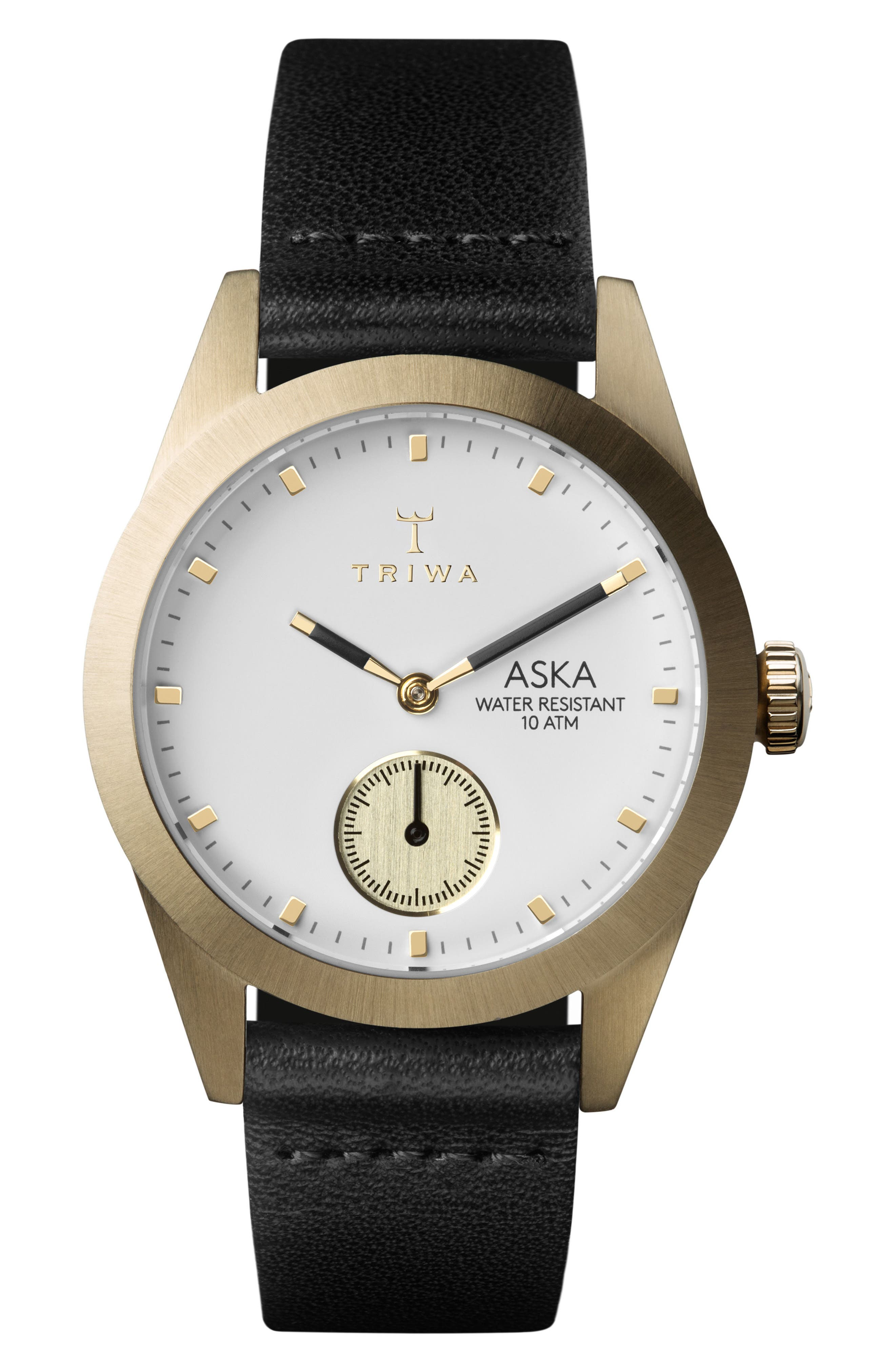 Ivory Aska Leather Strap Watch, 32mm,                             Main thumbnail 1, color,                             Black/ White/ Gold