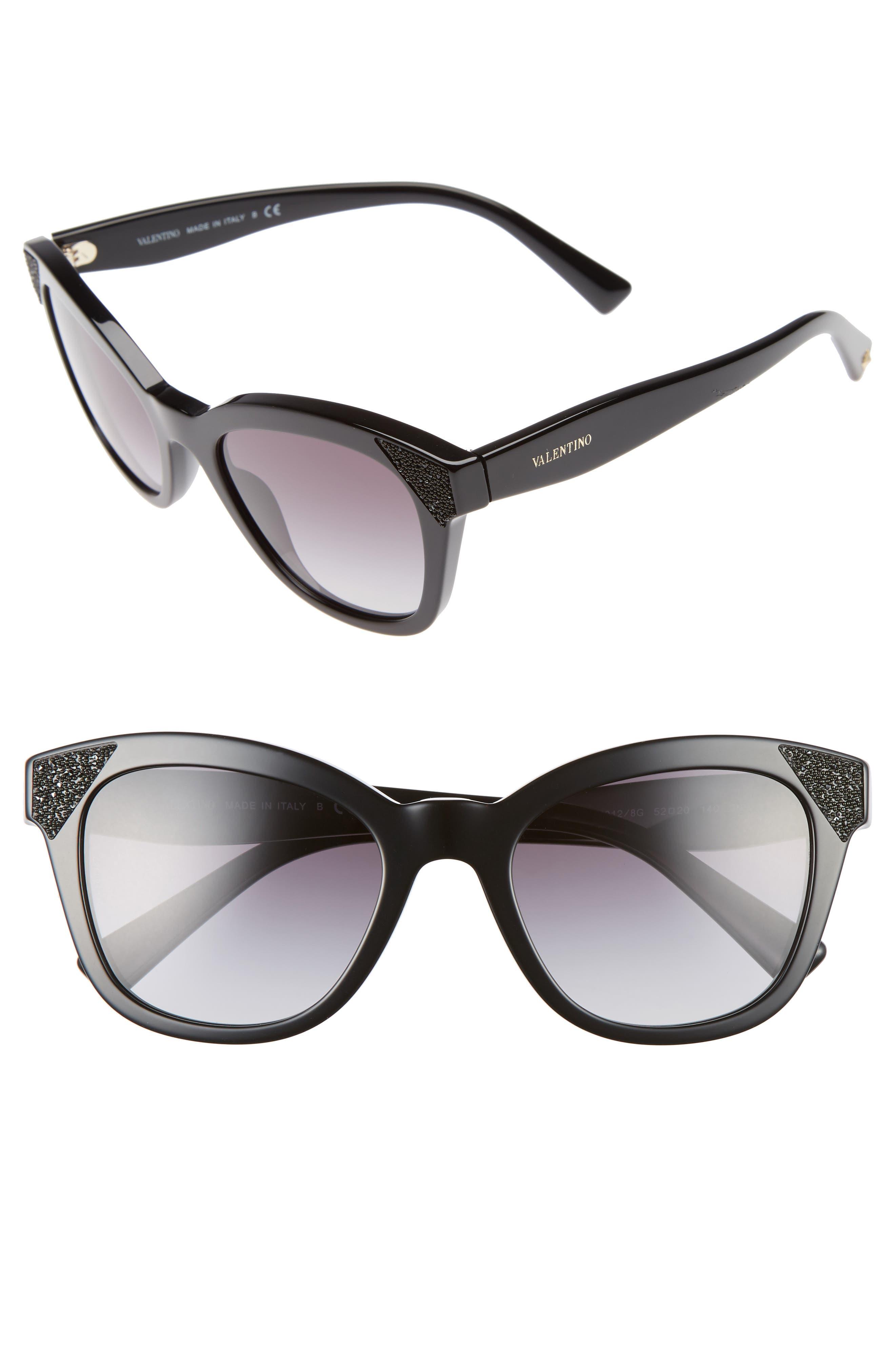 52mm Cat Eye Sunglasses,                             Main thumbnail 1, color,                             Black/ Black Crystal