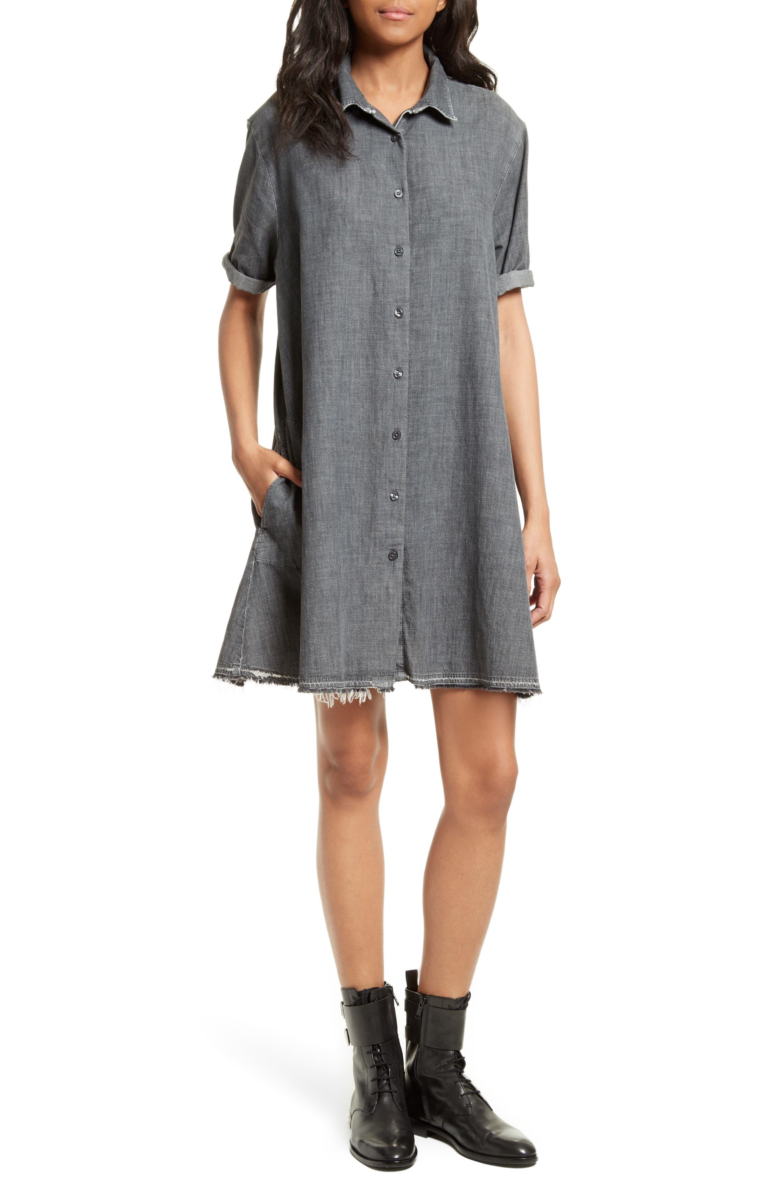The Bias Shirtdress,                         Main,                         color, Vapor Wash