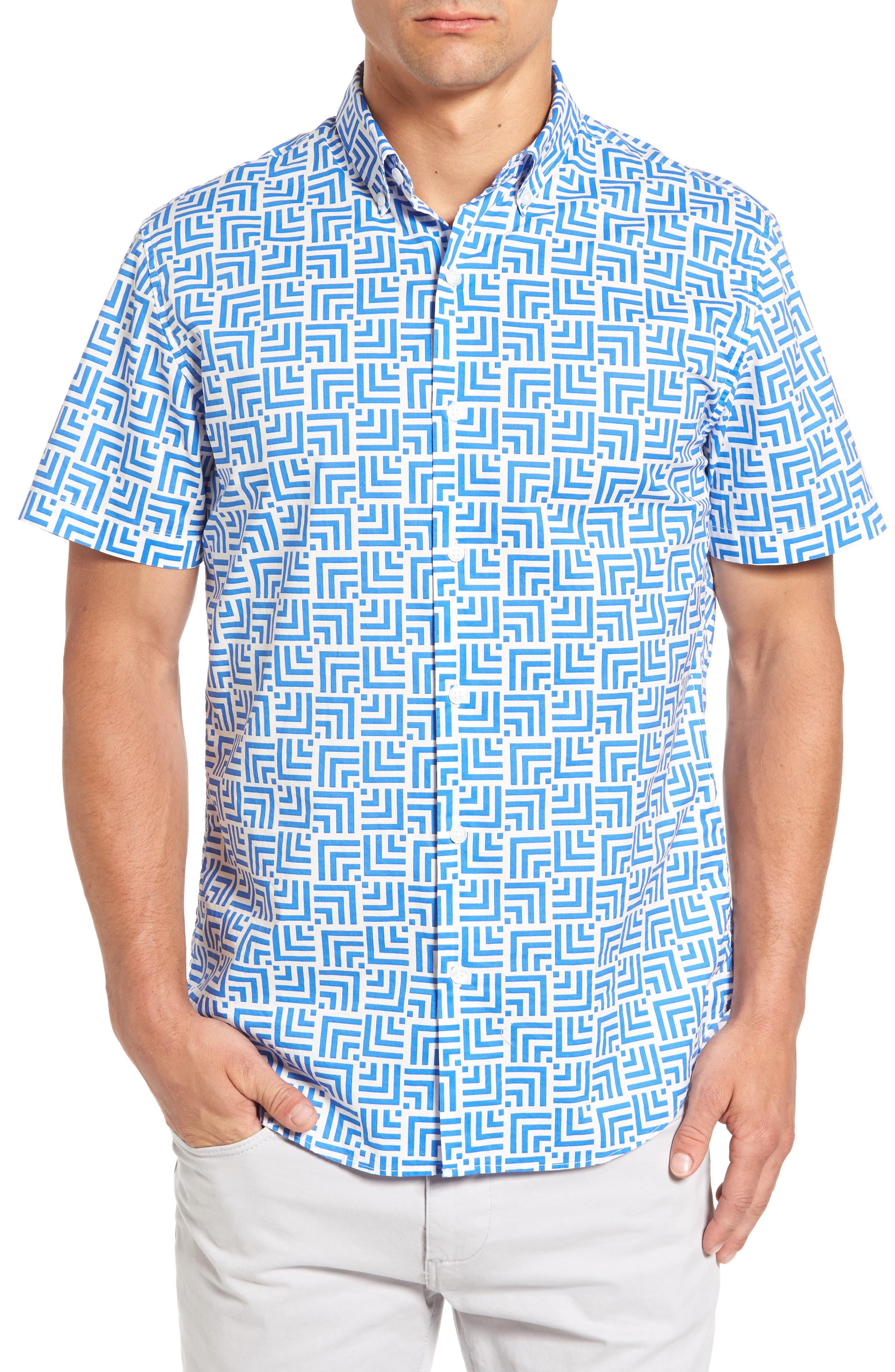 BONOBOS Slim Fit Optic Print Short Sleeve Sport Shirt