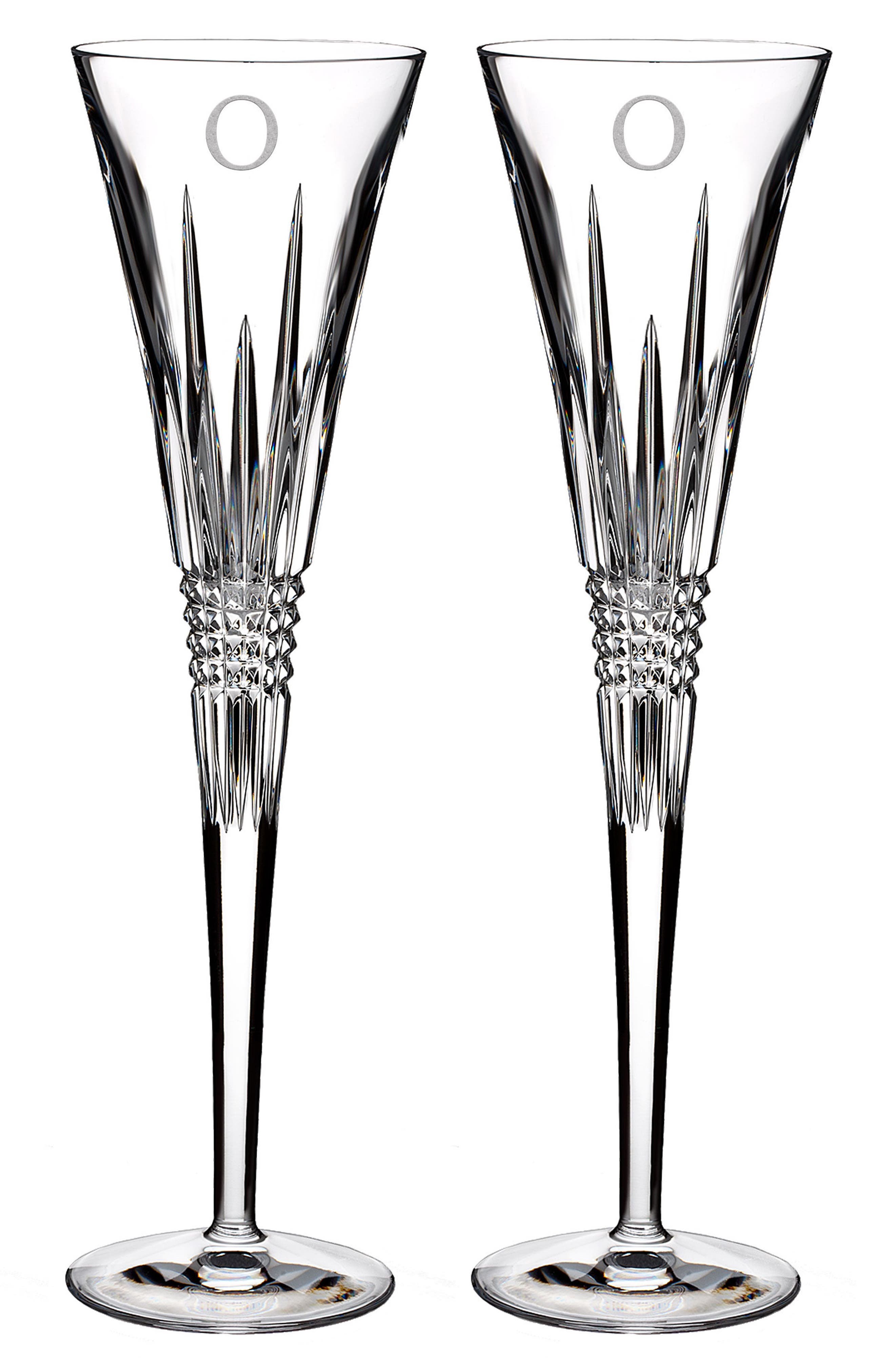 Lismore Diamond Set of 2 Monogram Lead Crystal Champagne Flutes,                             Main thumbnail 1, color,                             Clear - O
