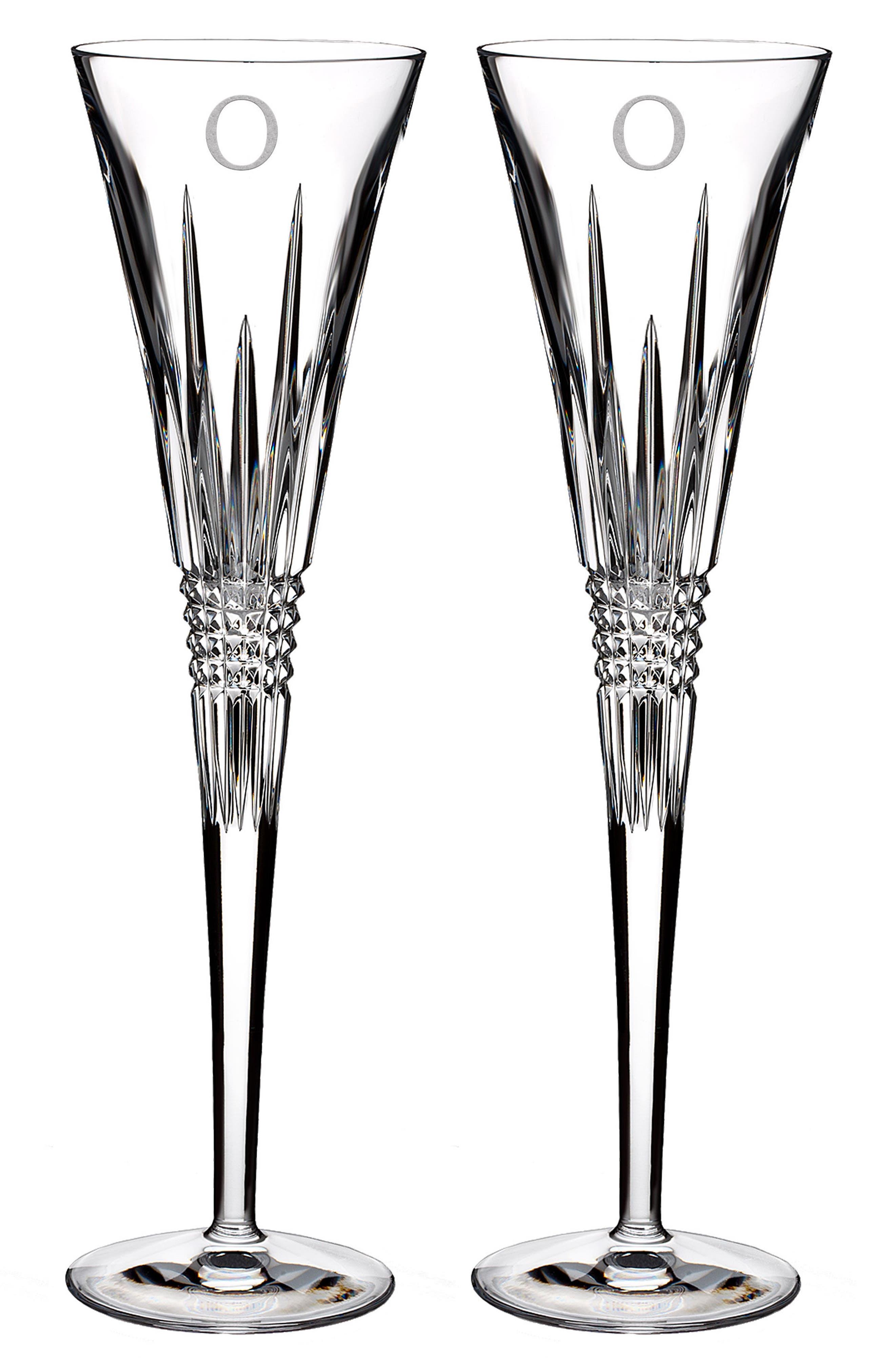 Lismore Diamond Set of 2 Monogram Lead Crystal Champagne Flutes,                         Main,                         color, Clear - O