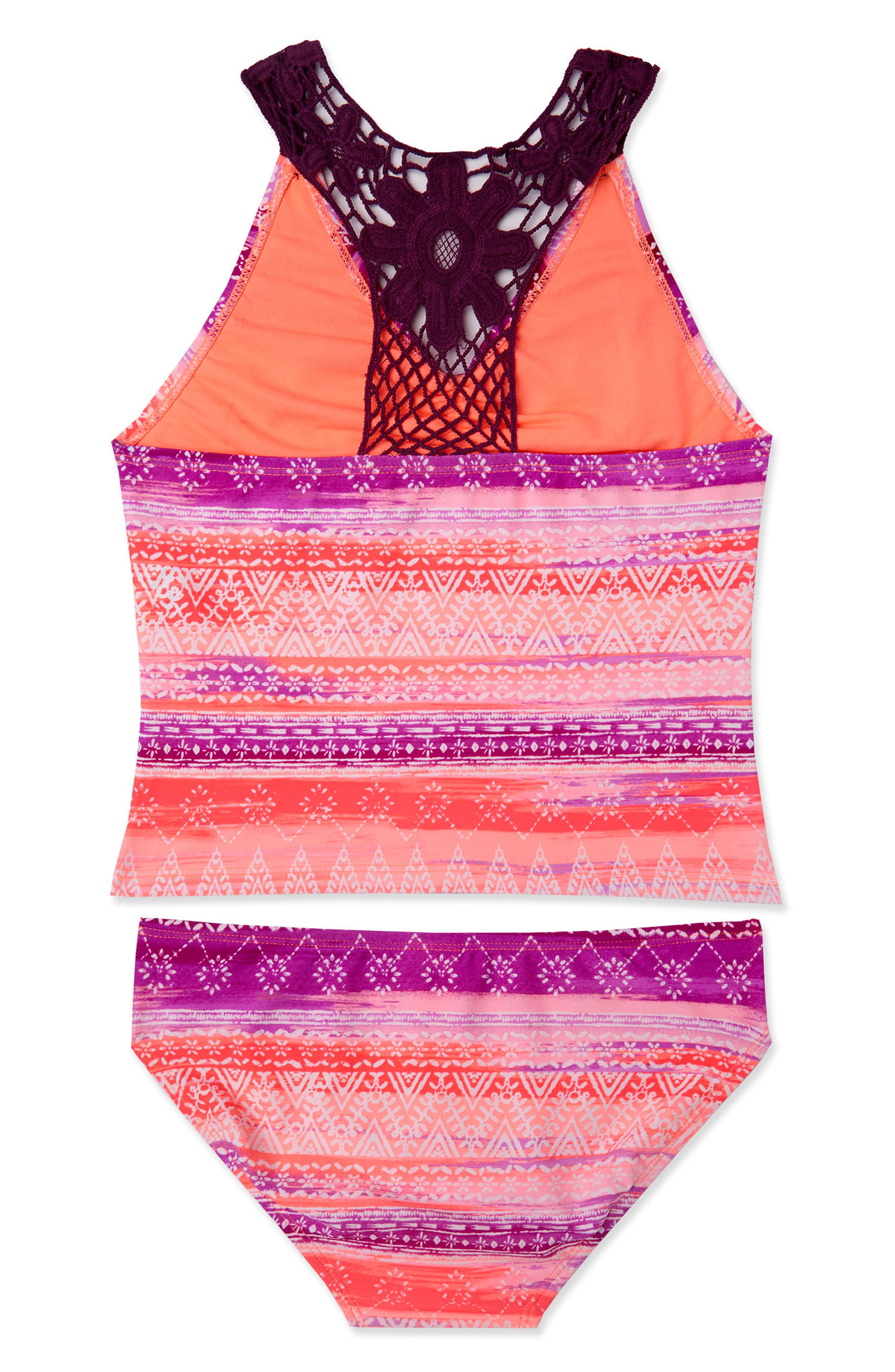 Alternate Image 2  - Gossip Girl Boho Sunset Two-Piece Tankini Swimsuit (Big Girls)