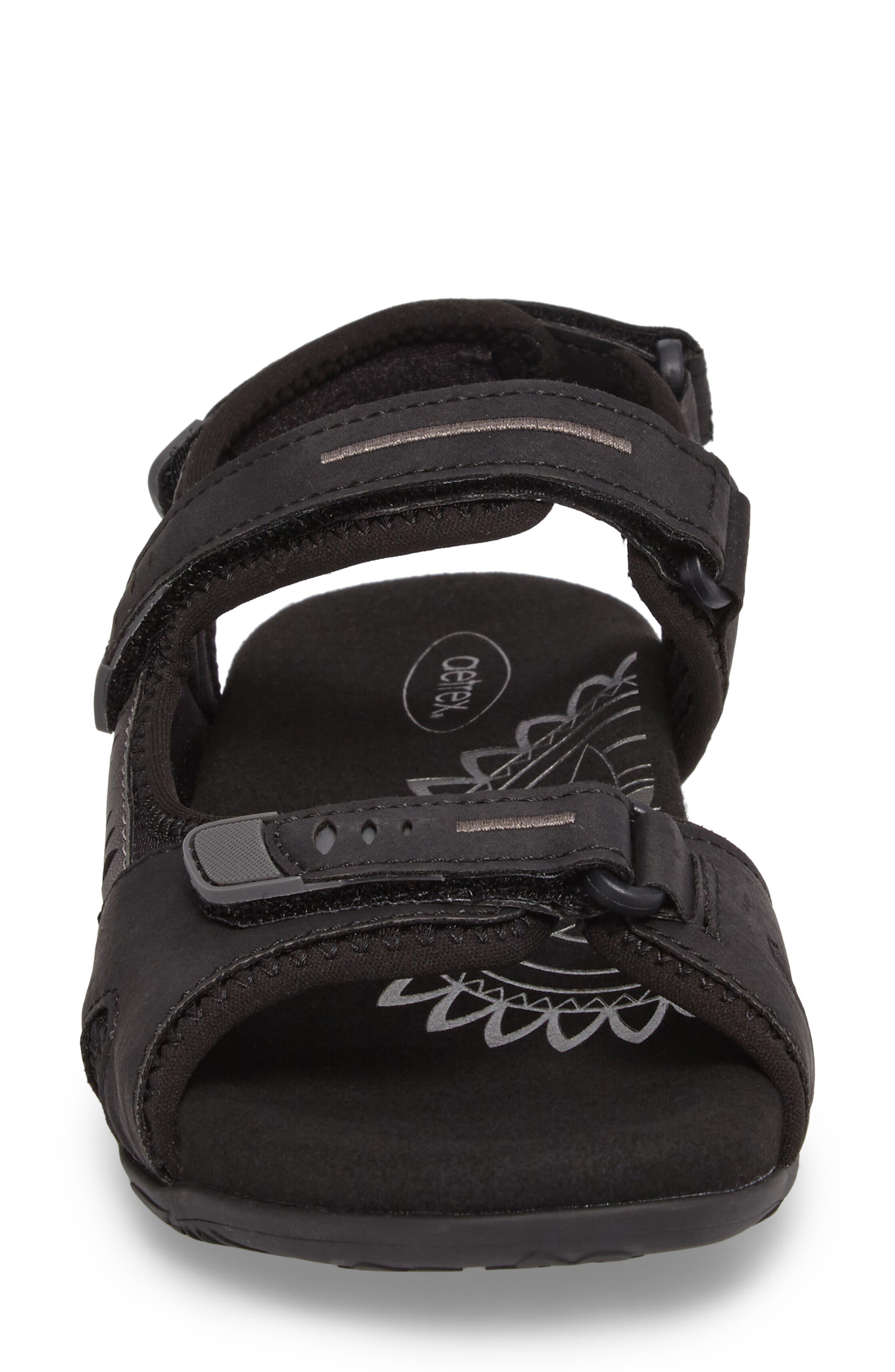Bree Sport Sandal,                             Alternate thumbnail 5, color,                             Black Fabric