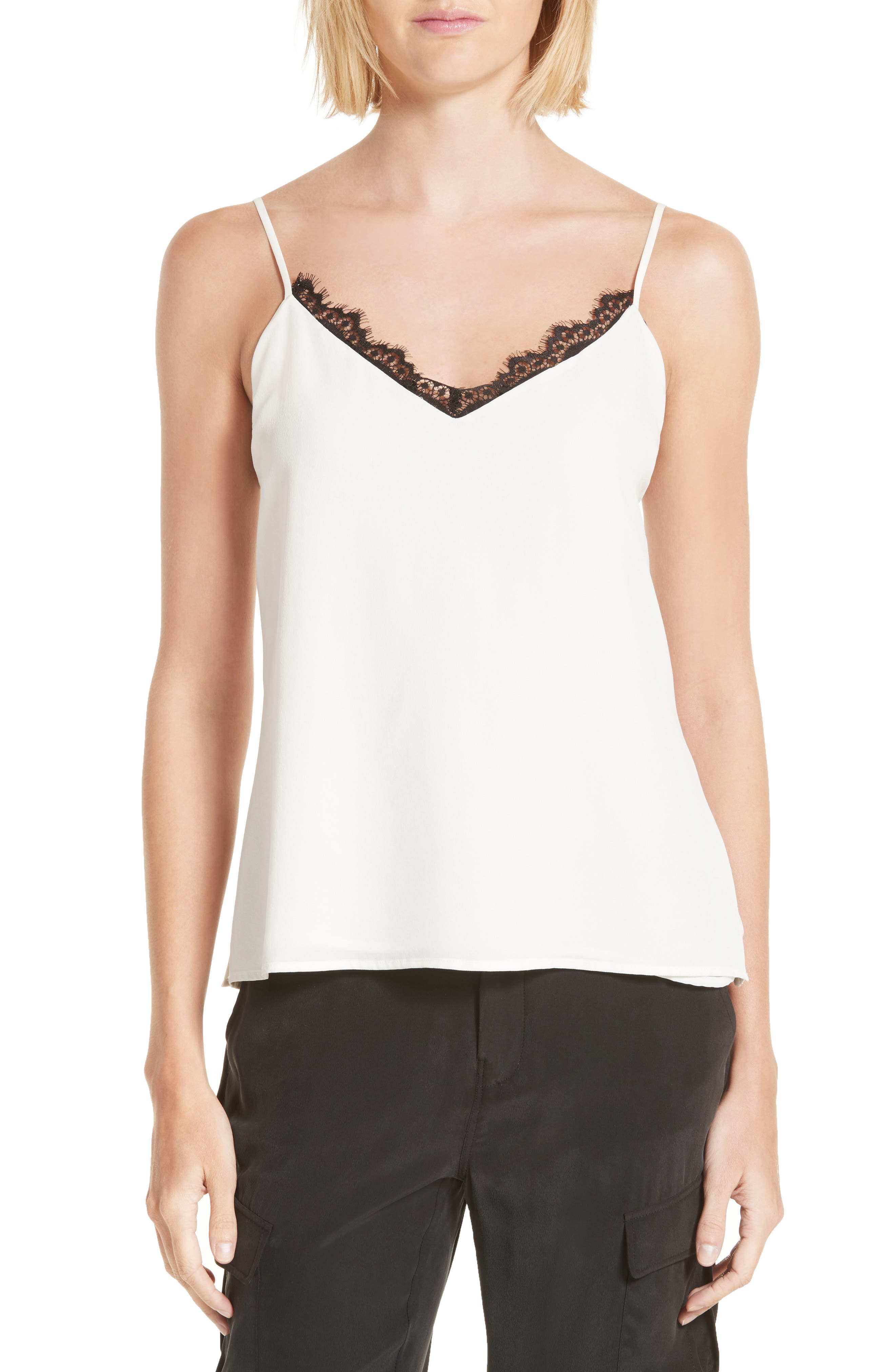 Lia Lace Trim Silk Camisole,                             Main thumbnail 1, color,                             Ivory/ Black