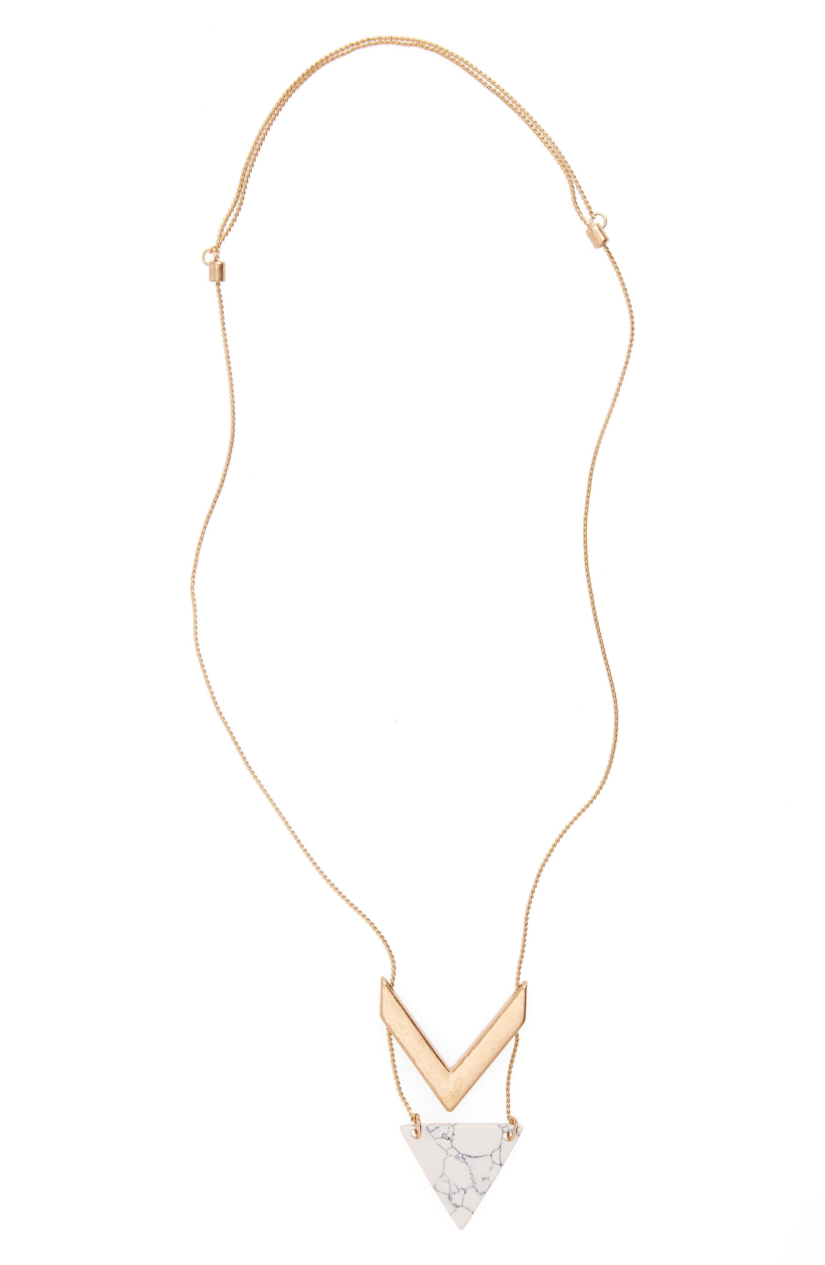 Girly Stone & Chevron Pendant Necklace