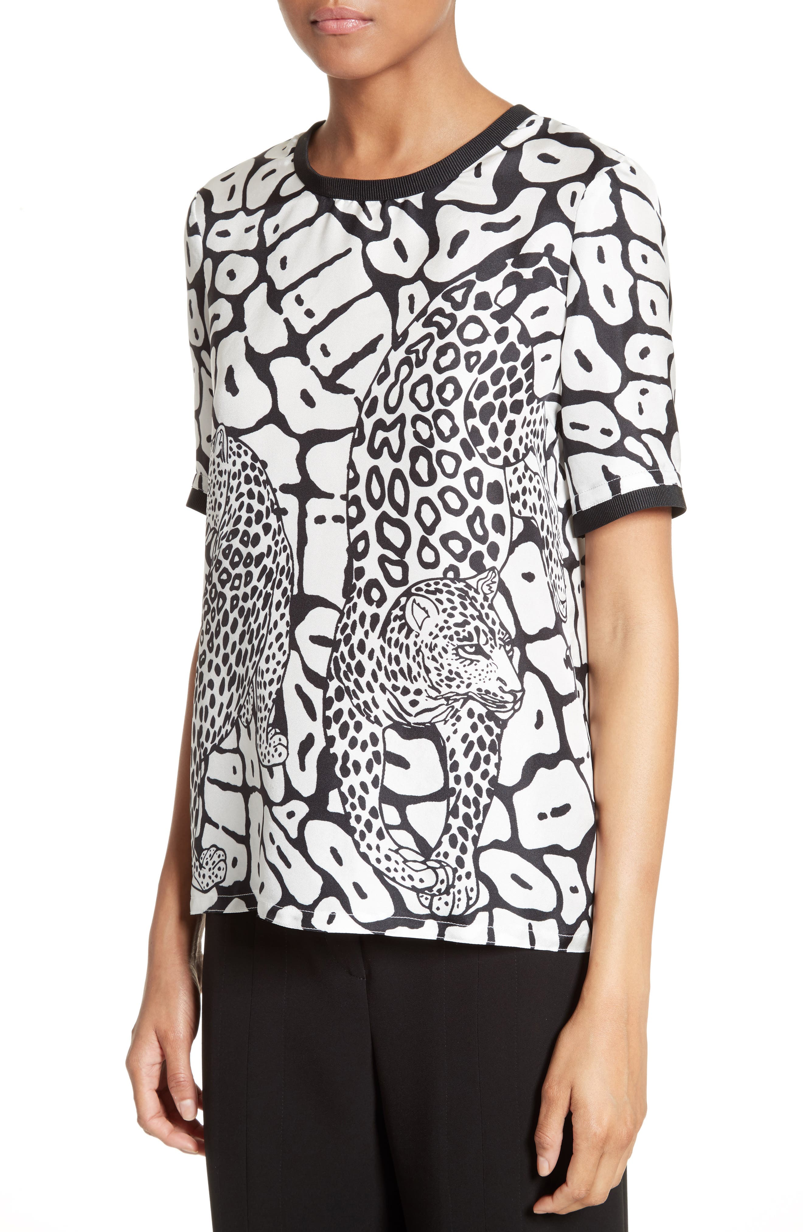 Leo Print Twill Tee,                             Alternate thumbnail 6, color,                             Jet Multi