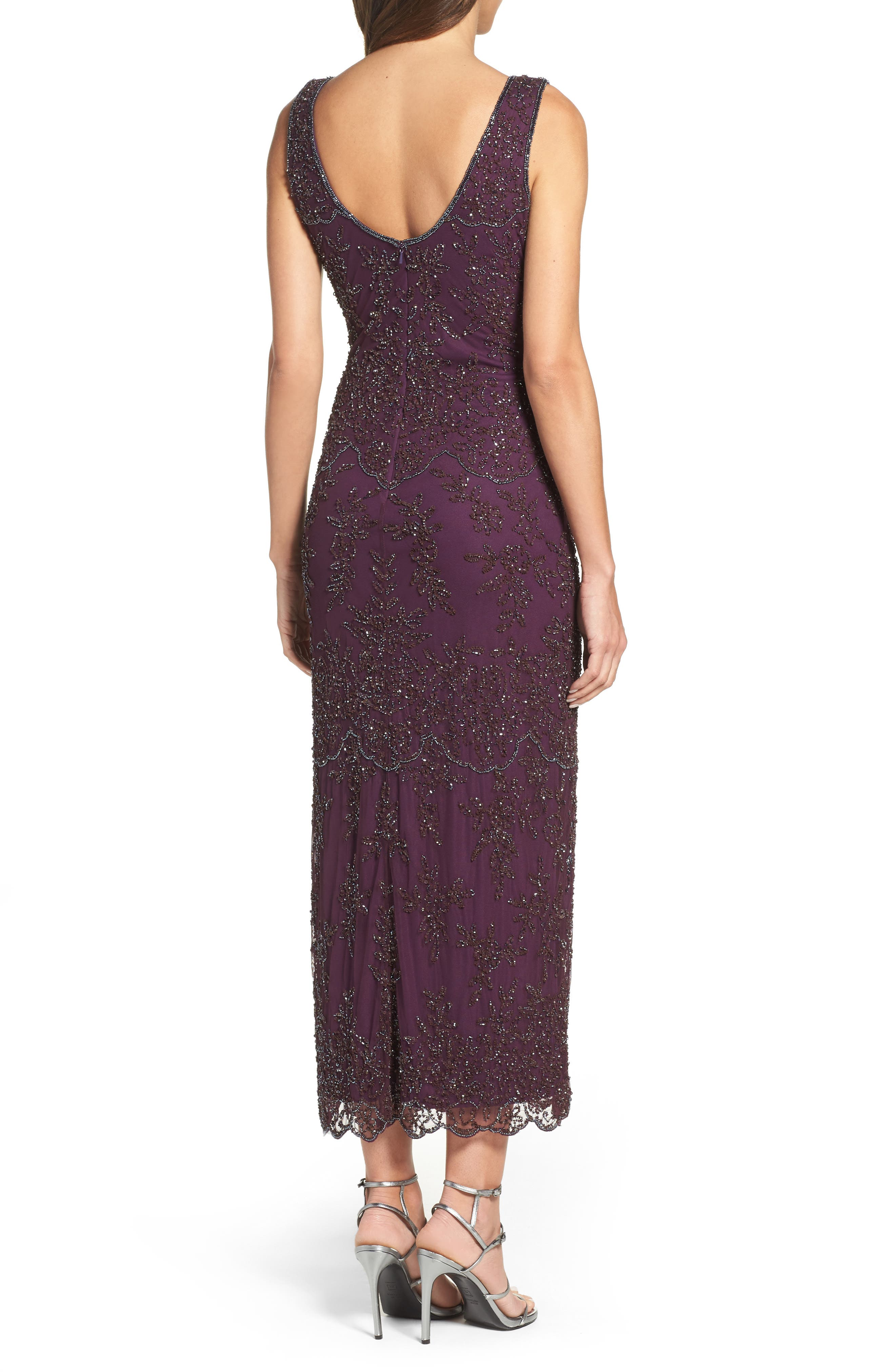 Embellished Mesh Gown,                             Alternate thumbnail 2, color,                             Purple
