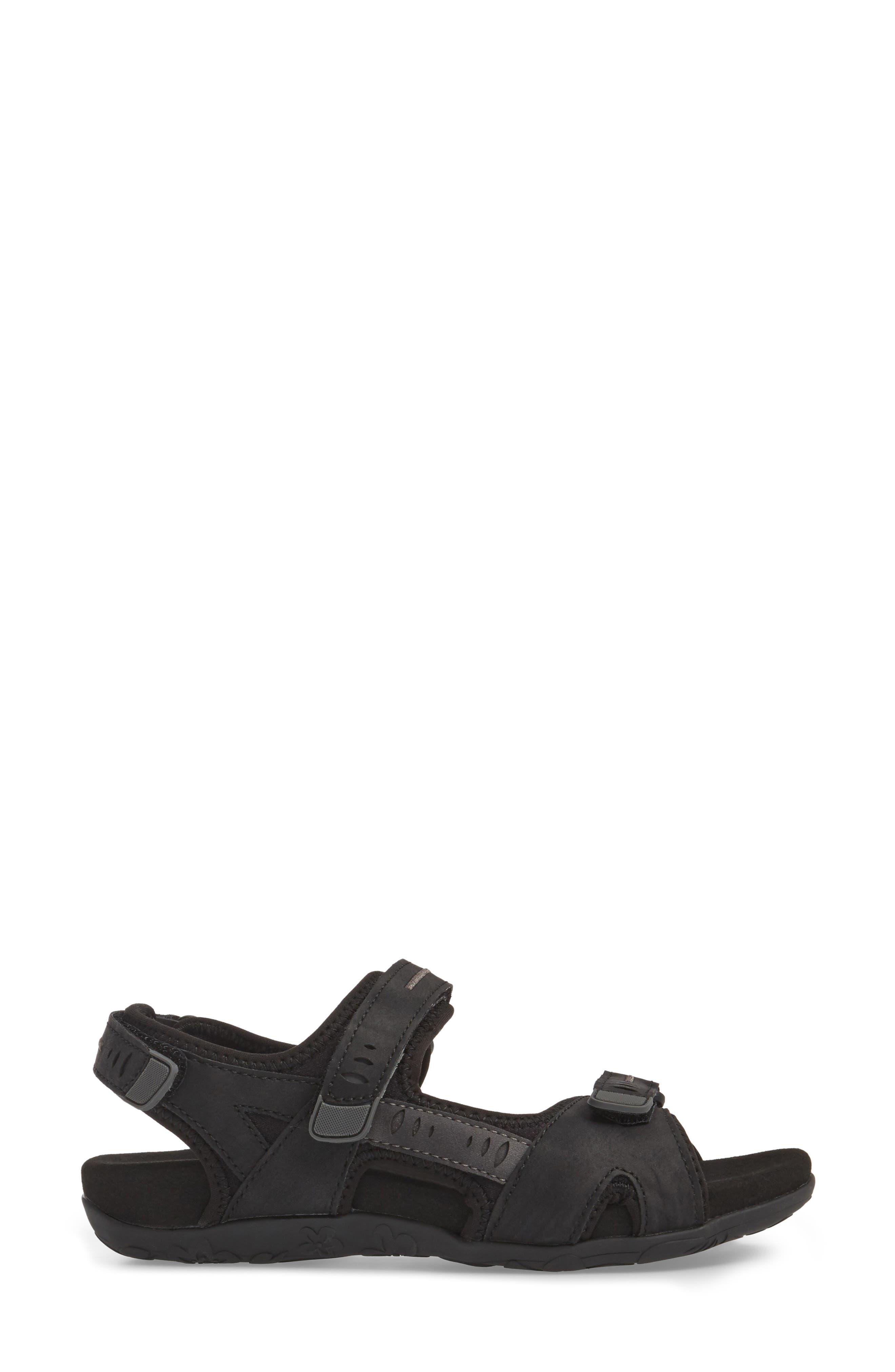 Bree Sport Sandal,                             Alternate thumbnail 3, color,                             Black Fabric