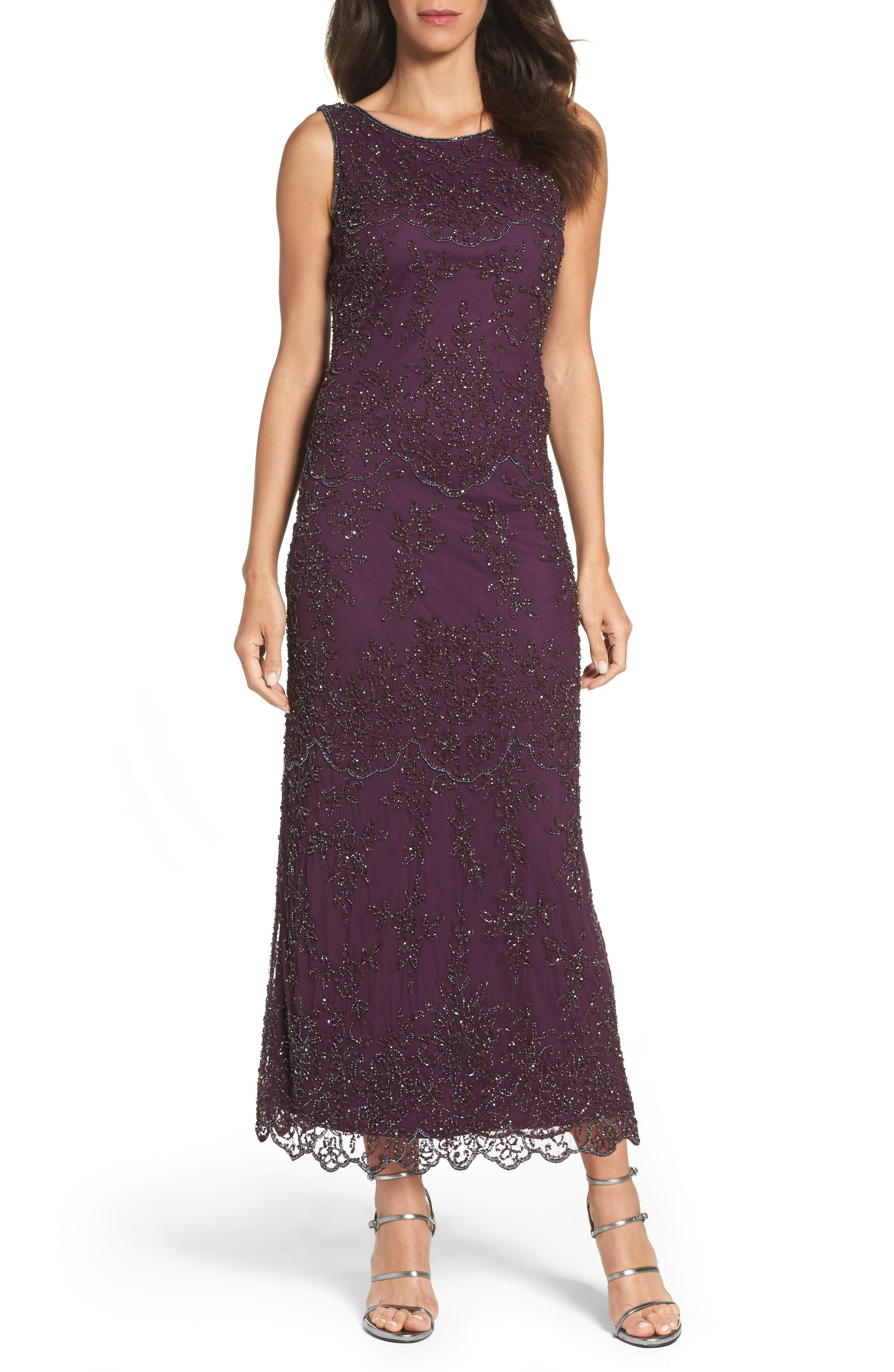 Embellished Mesh Gown,                         Main,                         color, Purple
