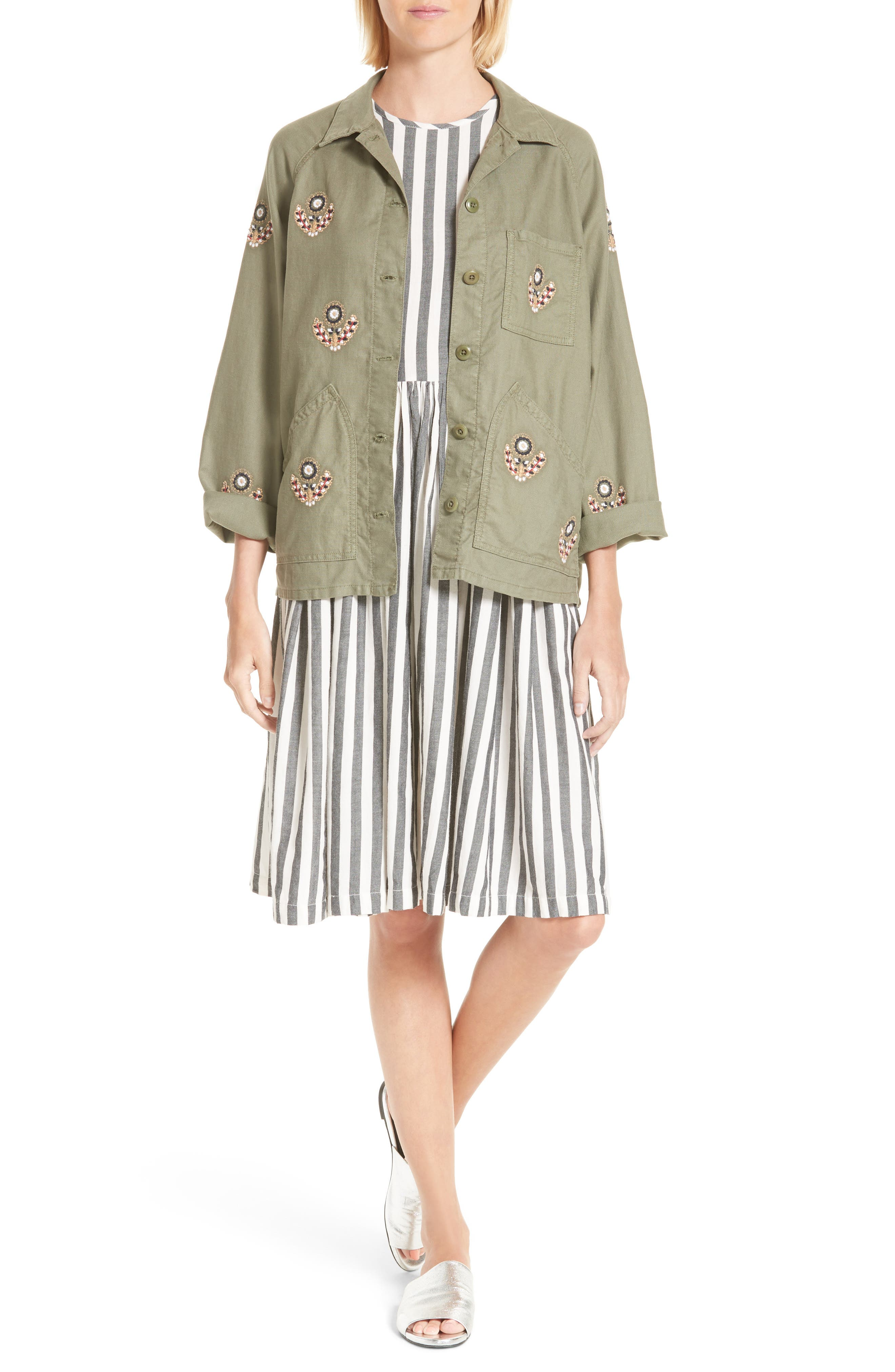The Field Jacket,                             Alternate thumbnail 2, color,                             Willow Green W Flower Emb