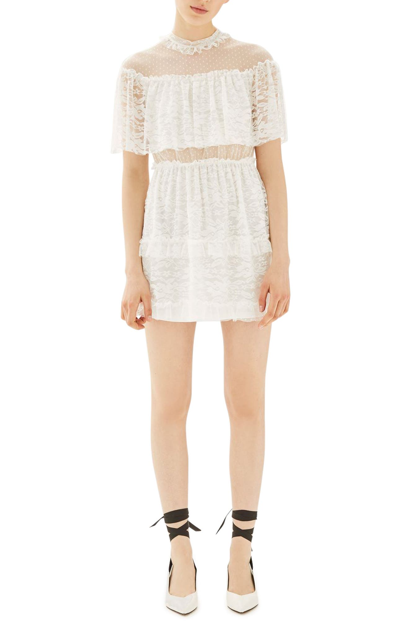 Main Image - Topshop Lace Cape Skater Dress