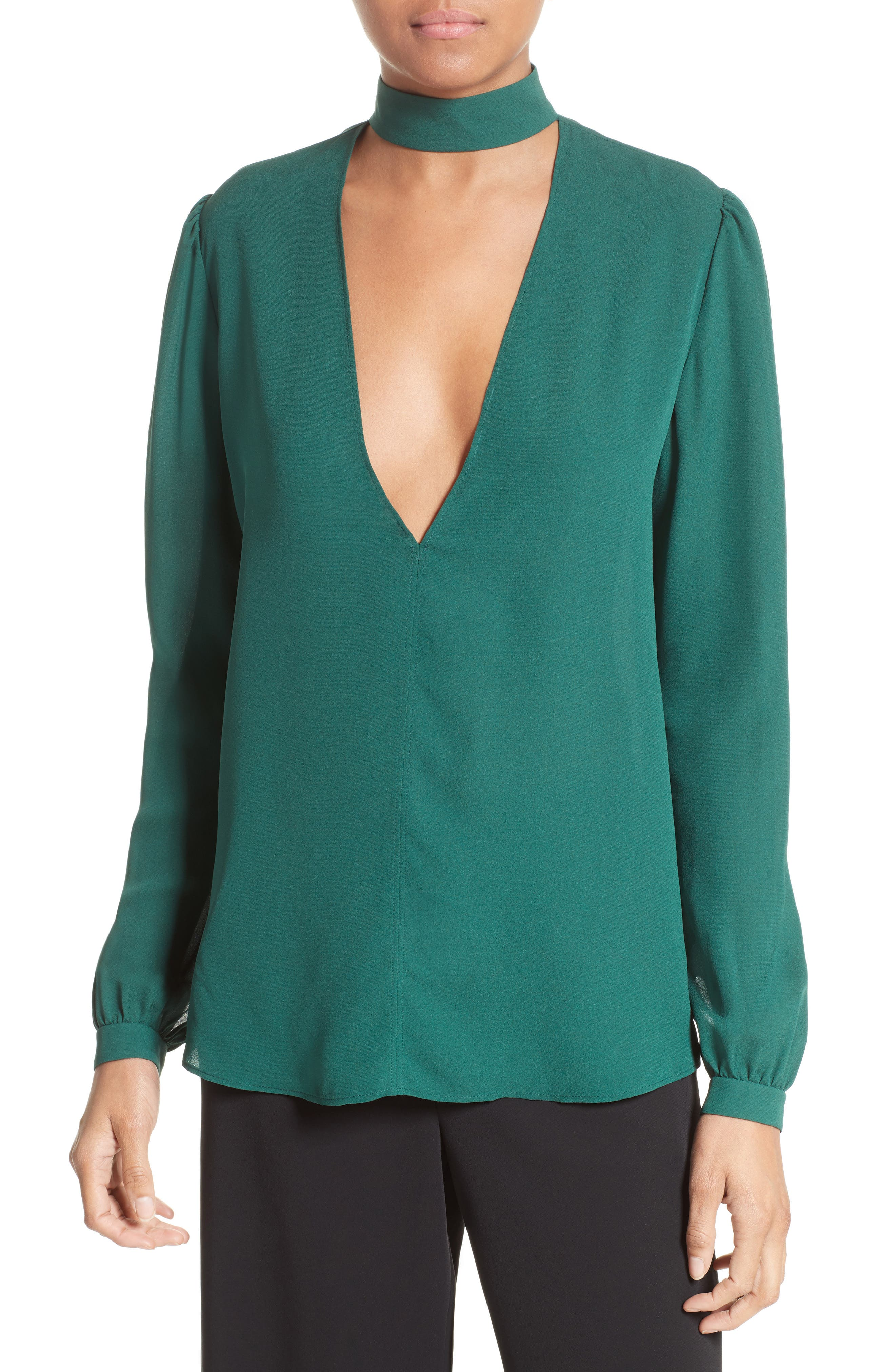 Liza Silk Top,                         Main,                         color, Pine