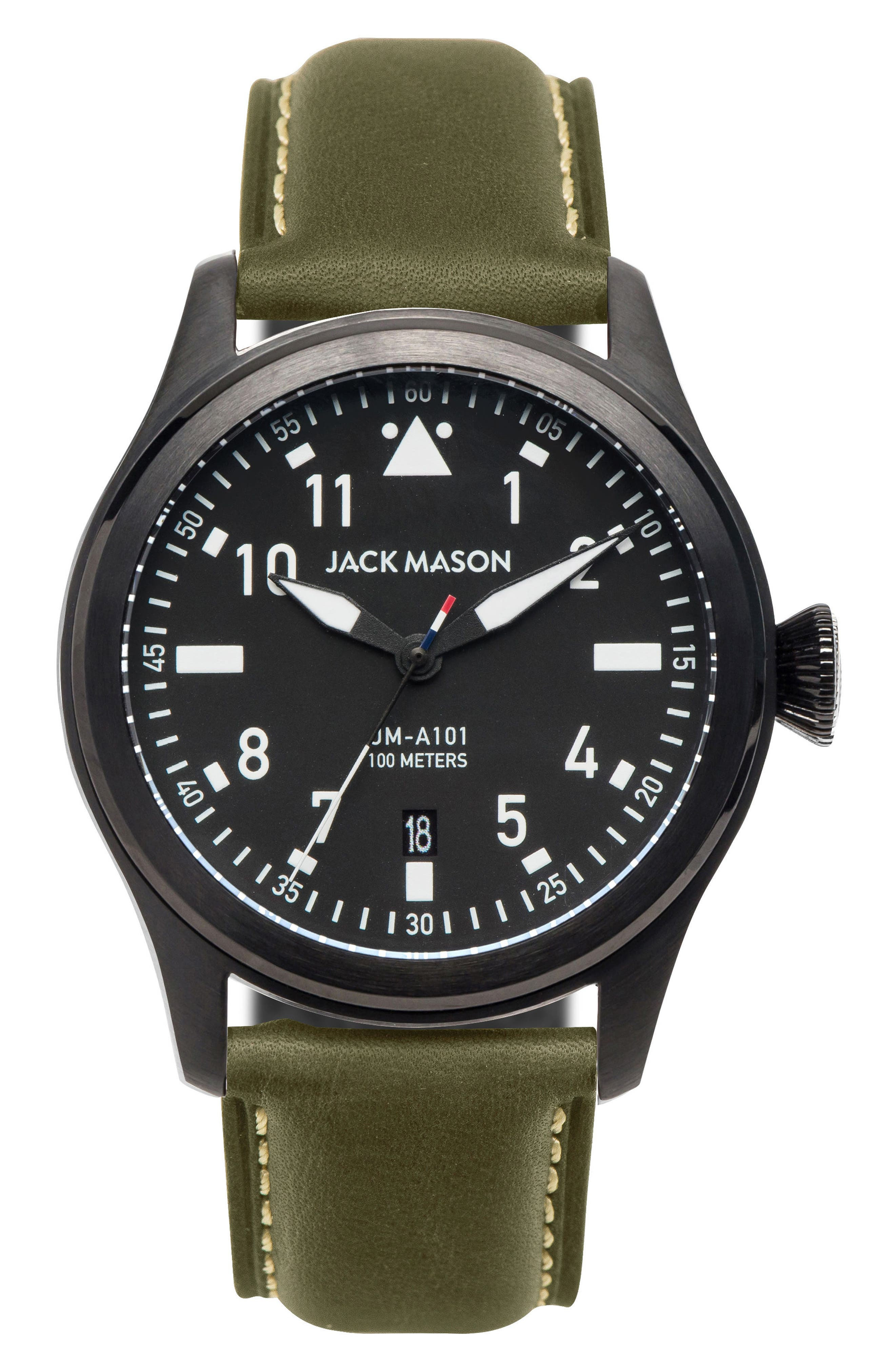 Aviation Leather Strap Watch, 42mm,                         Main,                         color, Black/ Green