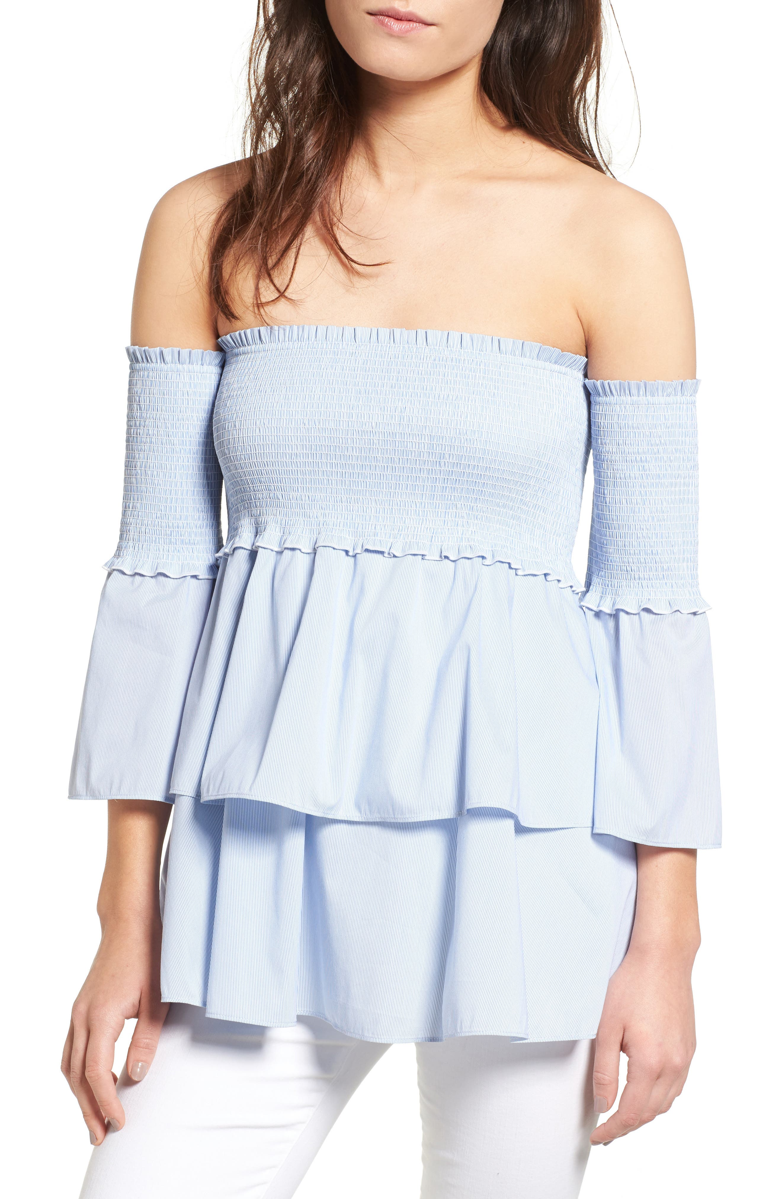 Main Image - Chelsea28 Smocked Off the Shoulder Poplin Top