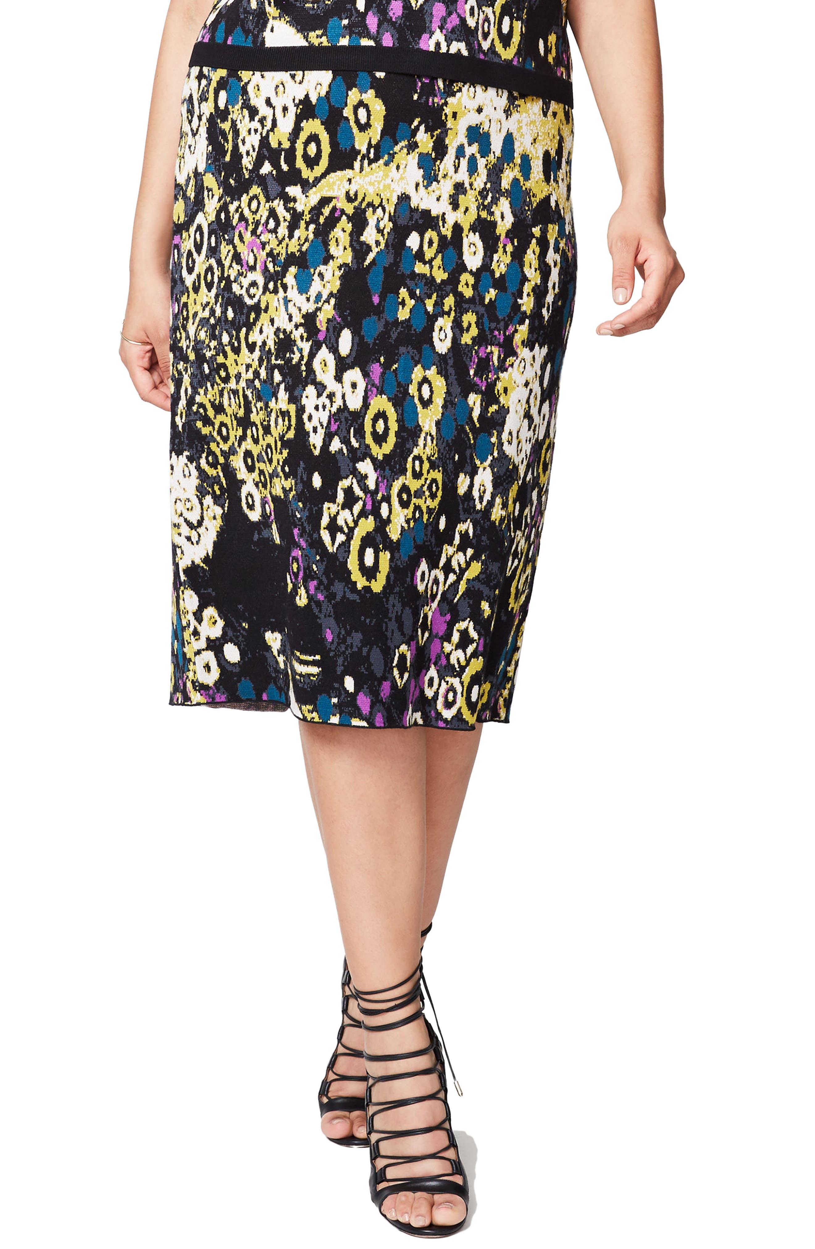 Floral Jacquard Skirt,                         Main,                         color, Deep Sapphire Combo