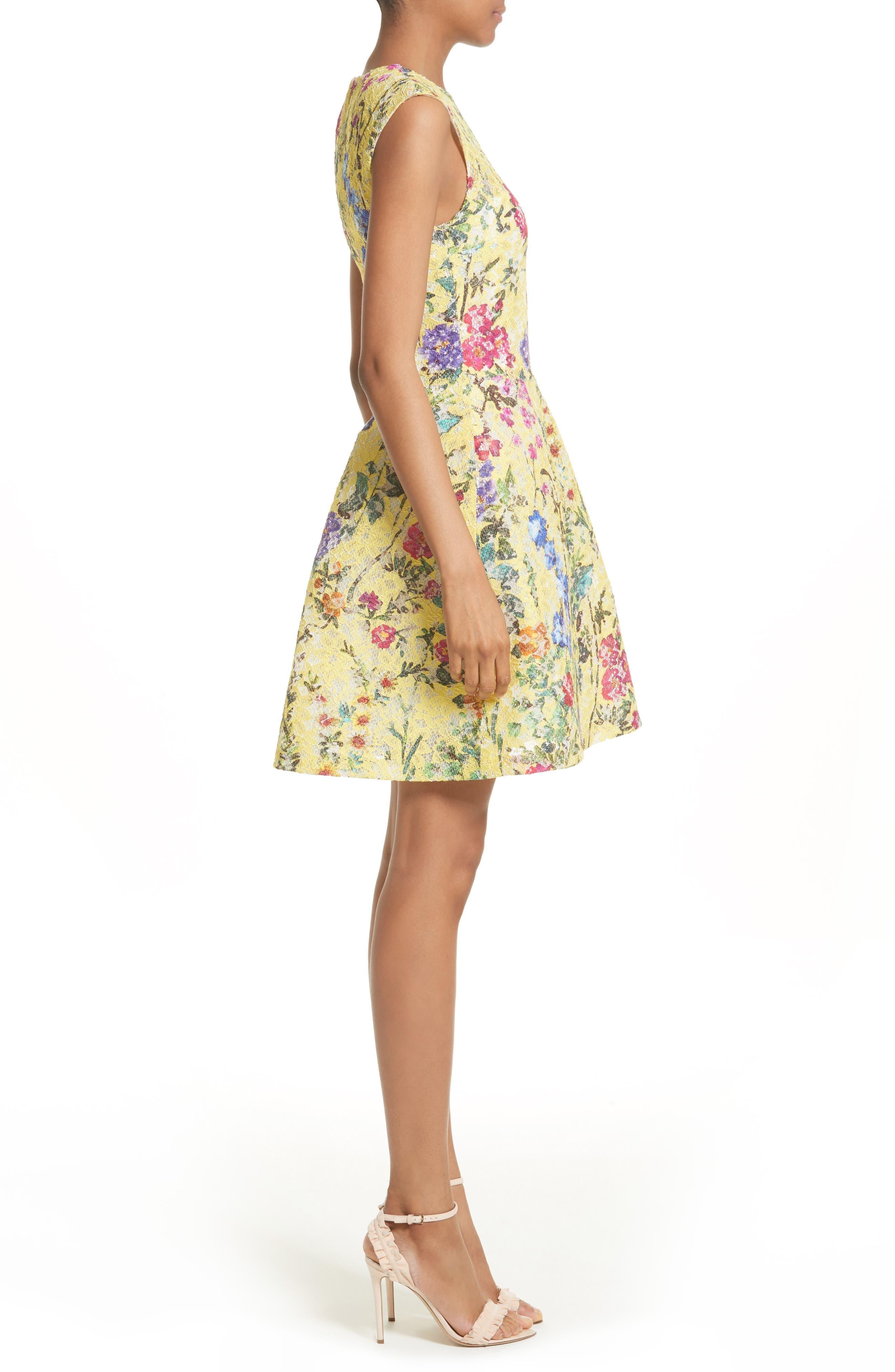 Alternate Image 4  - Monique Lhuillier Garden Print Lace Fit & Flare Dress