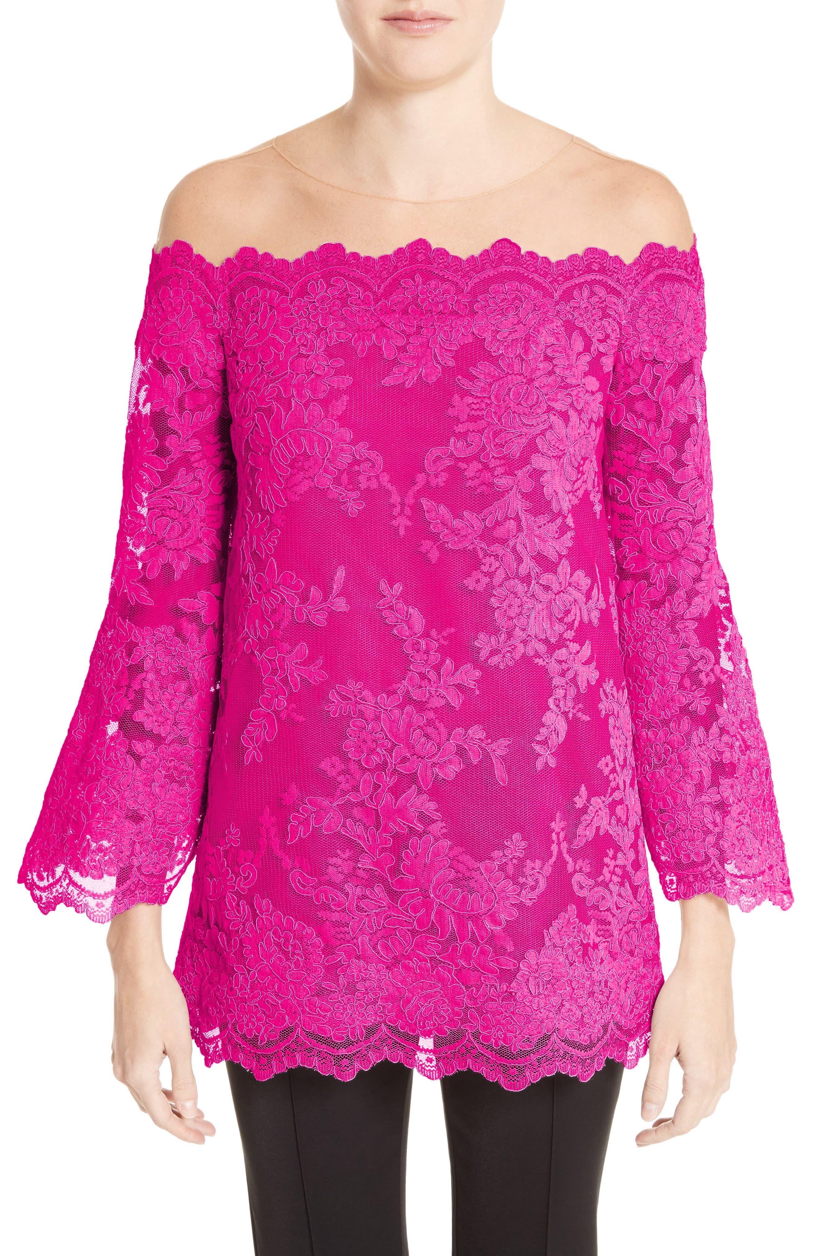 Off The Shoulder Illusion Lace Top,                         Main,                         color, Fuchsia