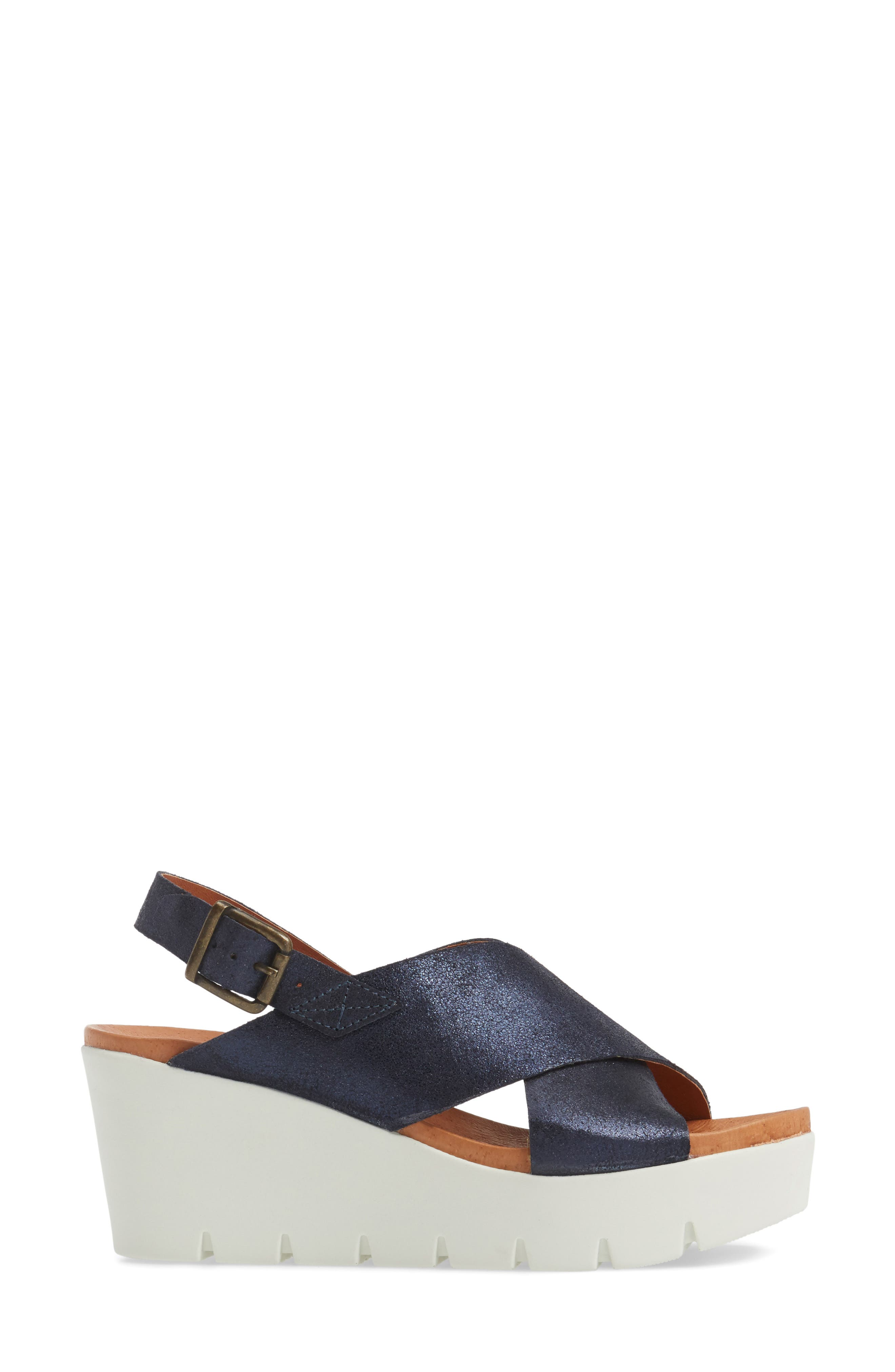 Payton Platform Wedge Sandal,                             Alternate thumbnail 3, color,                             Navy Glitter Suede