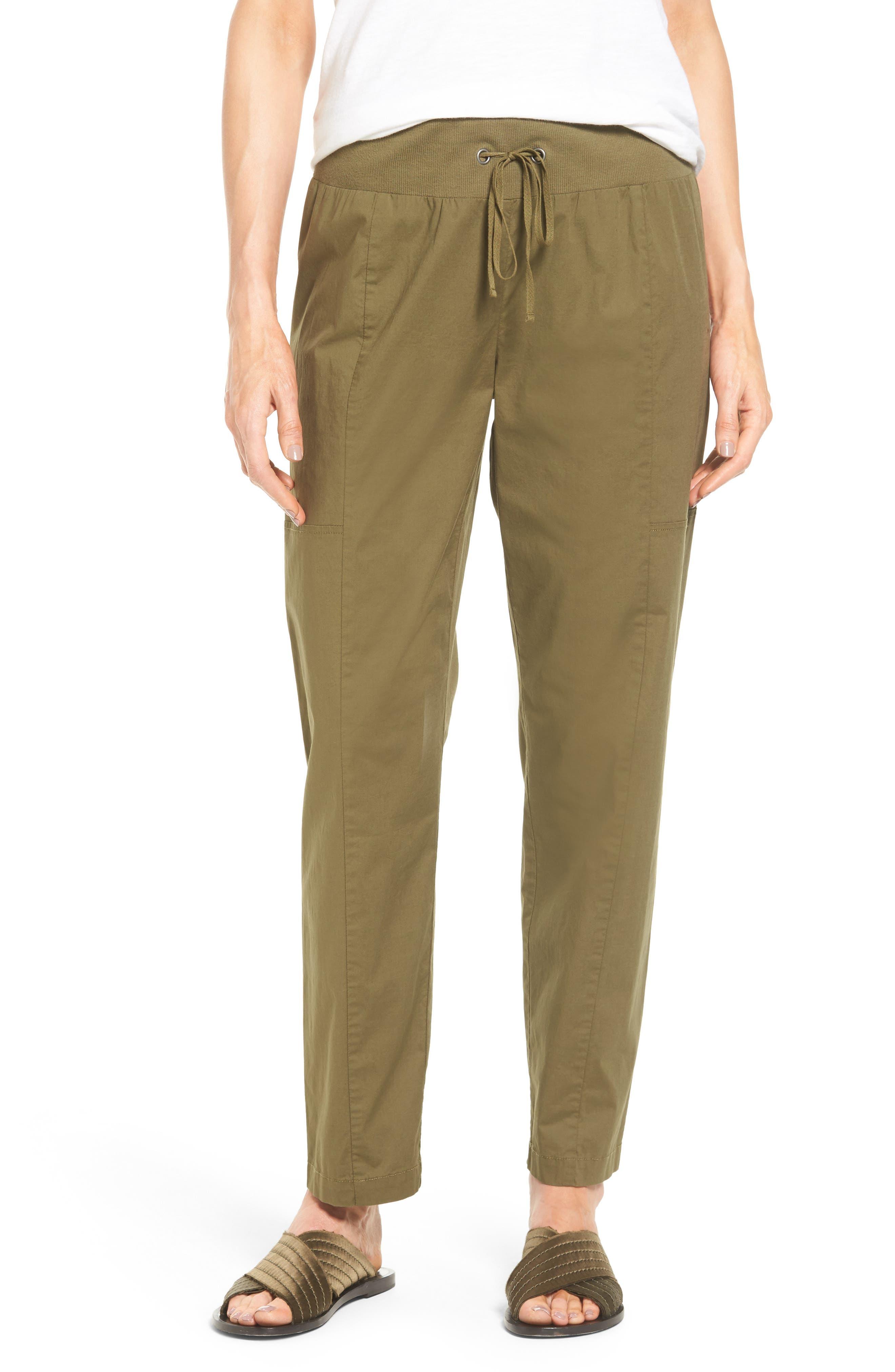 Drawstring Ankle Pants,                         Main,                         color, Olive