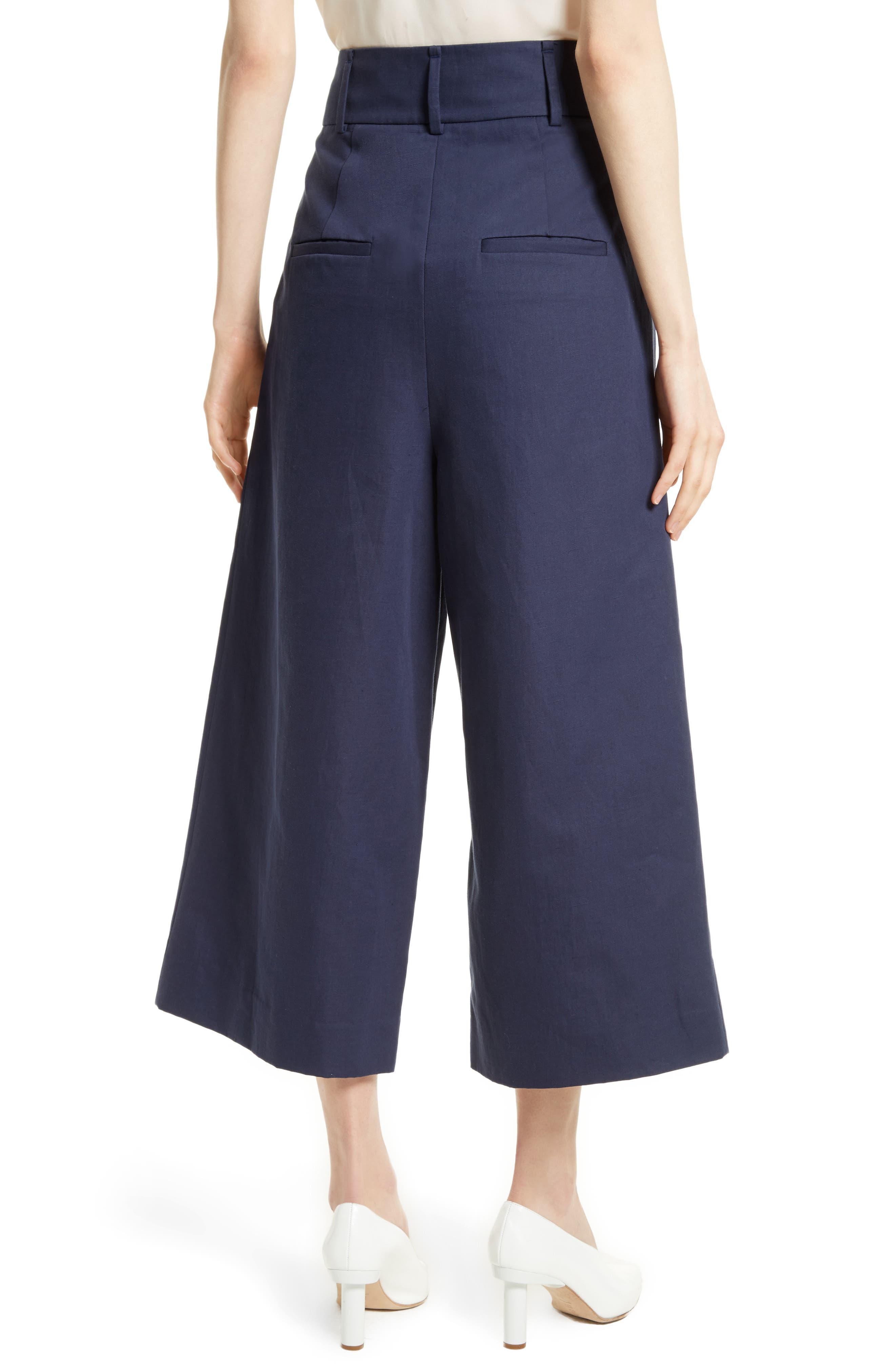 Chassis Plain Weave Crop Pants,                             Alternate thumbnail 3, color,                             Navy