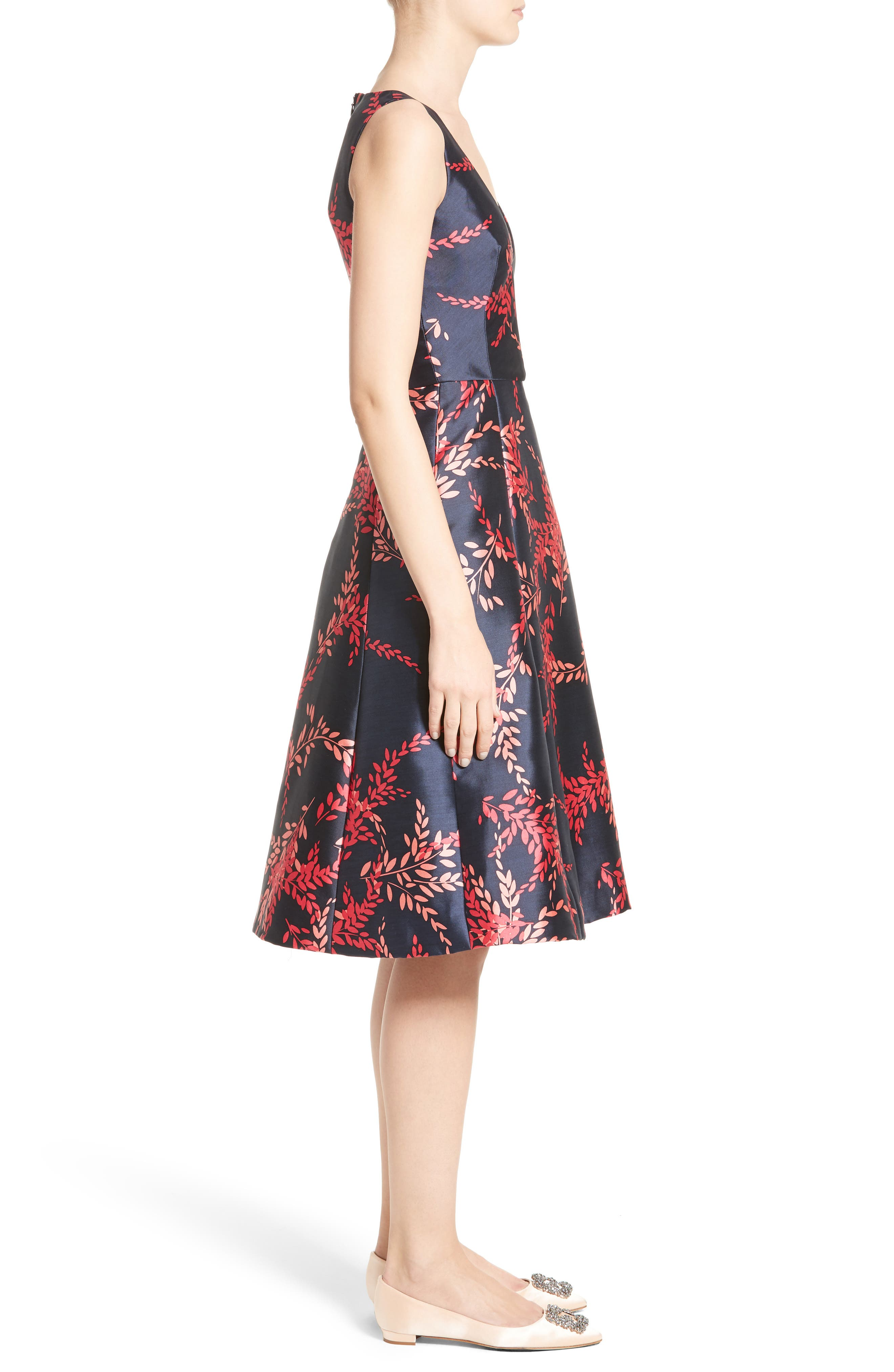 Leaf Print Silk & Cotton Dress,                             Alternate thumbnail 4, color,                             Navy/ Tourmaline