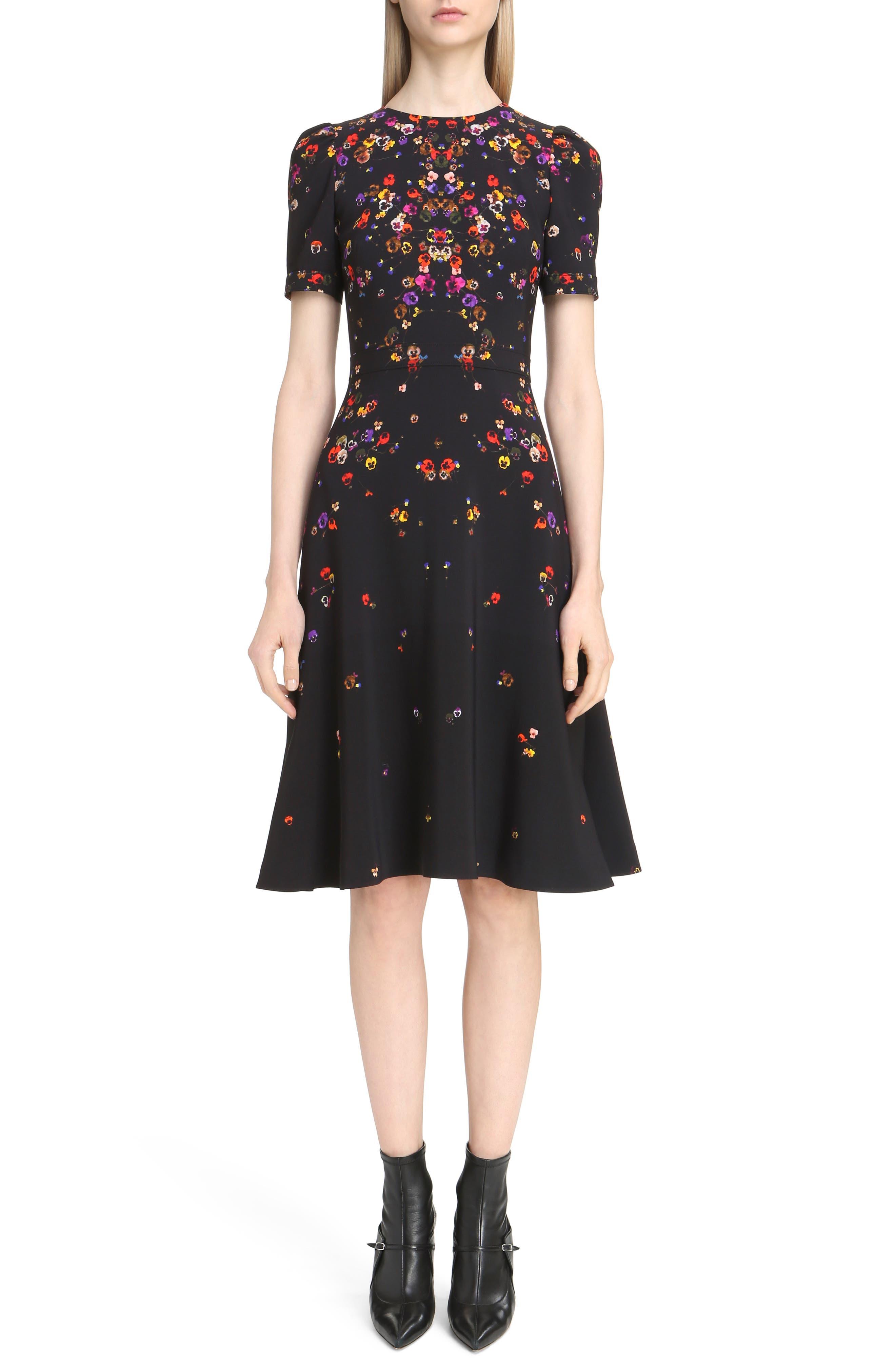 Pansy Print Stretch Cady Dress,                         Main,                         color, Black