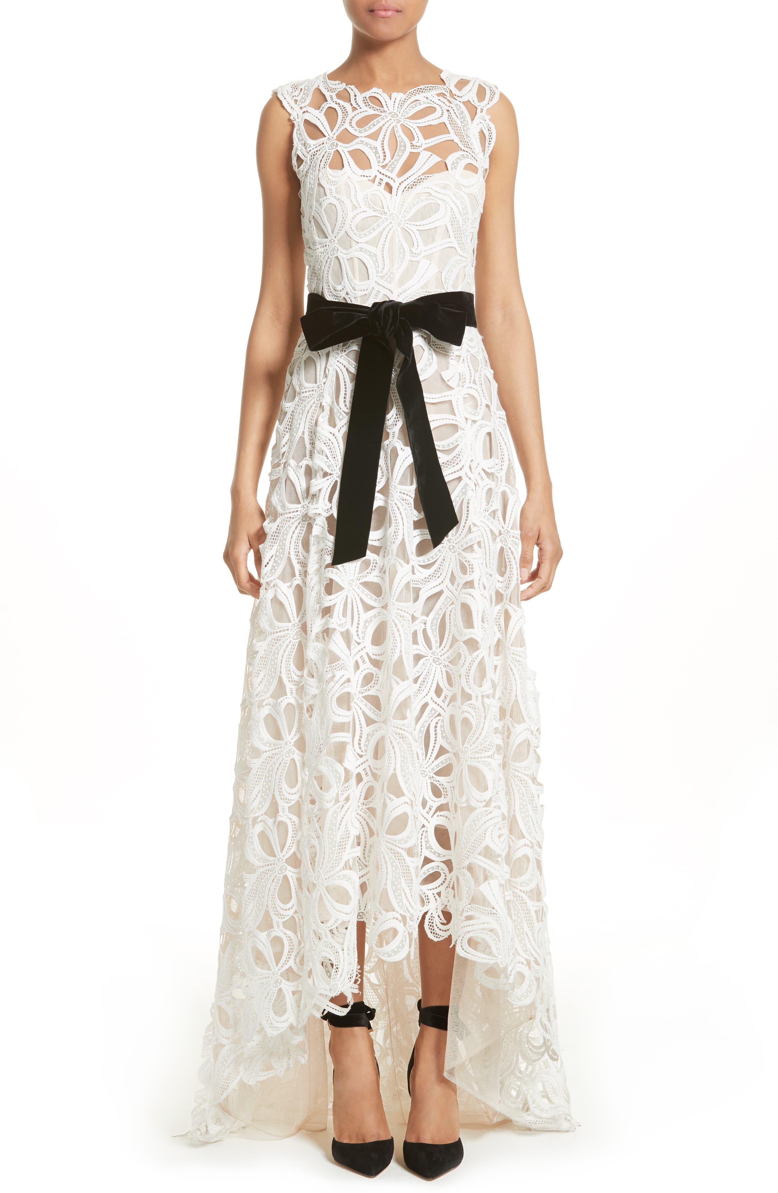 Monique Lhuillier Velvet Tie Lace A-Line Gown