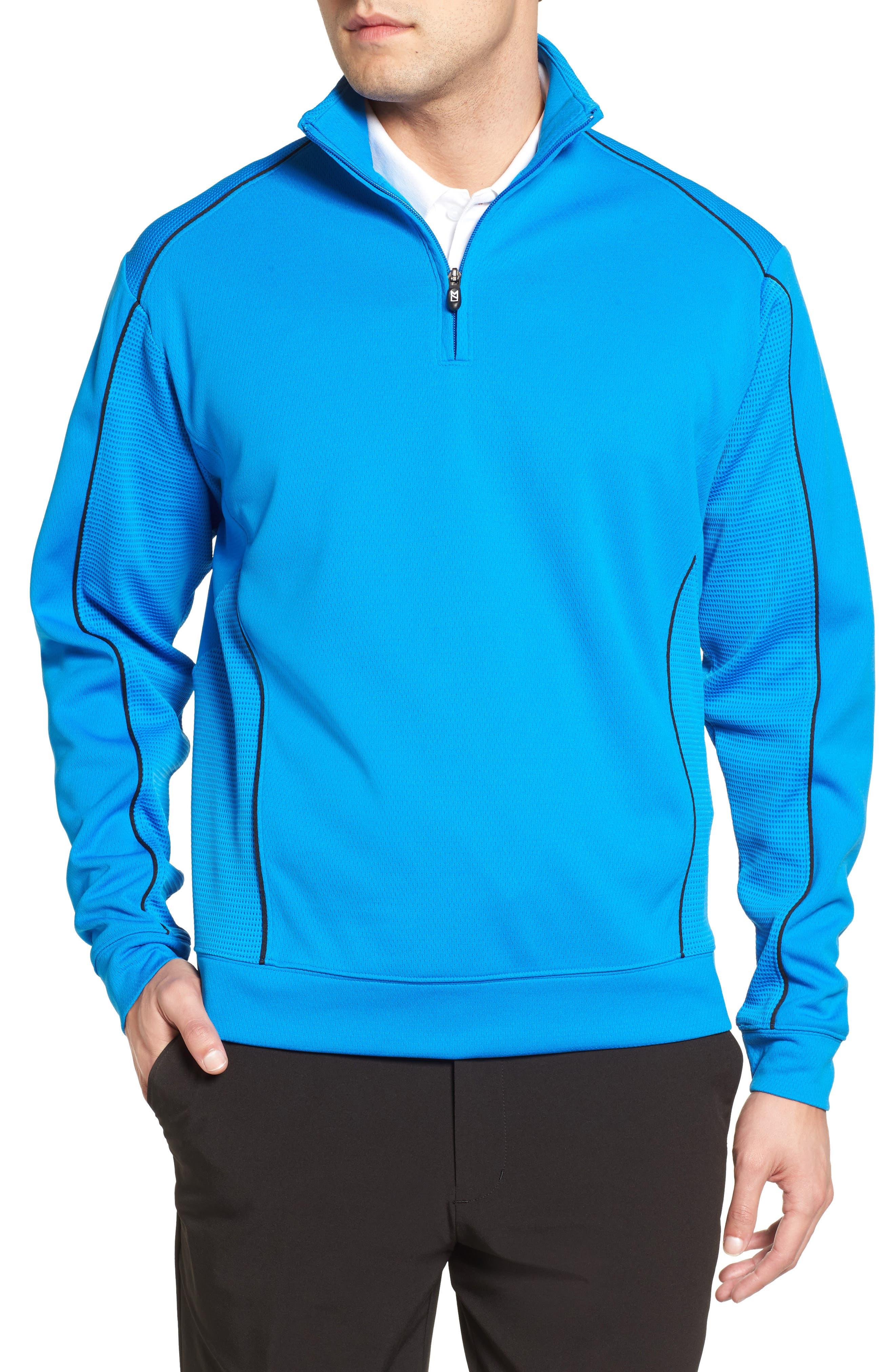 'DryTec<sup>®</sup> Edge' Half Zip Mesh Pullover,                         Main,                         color, Digital/ Black