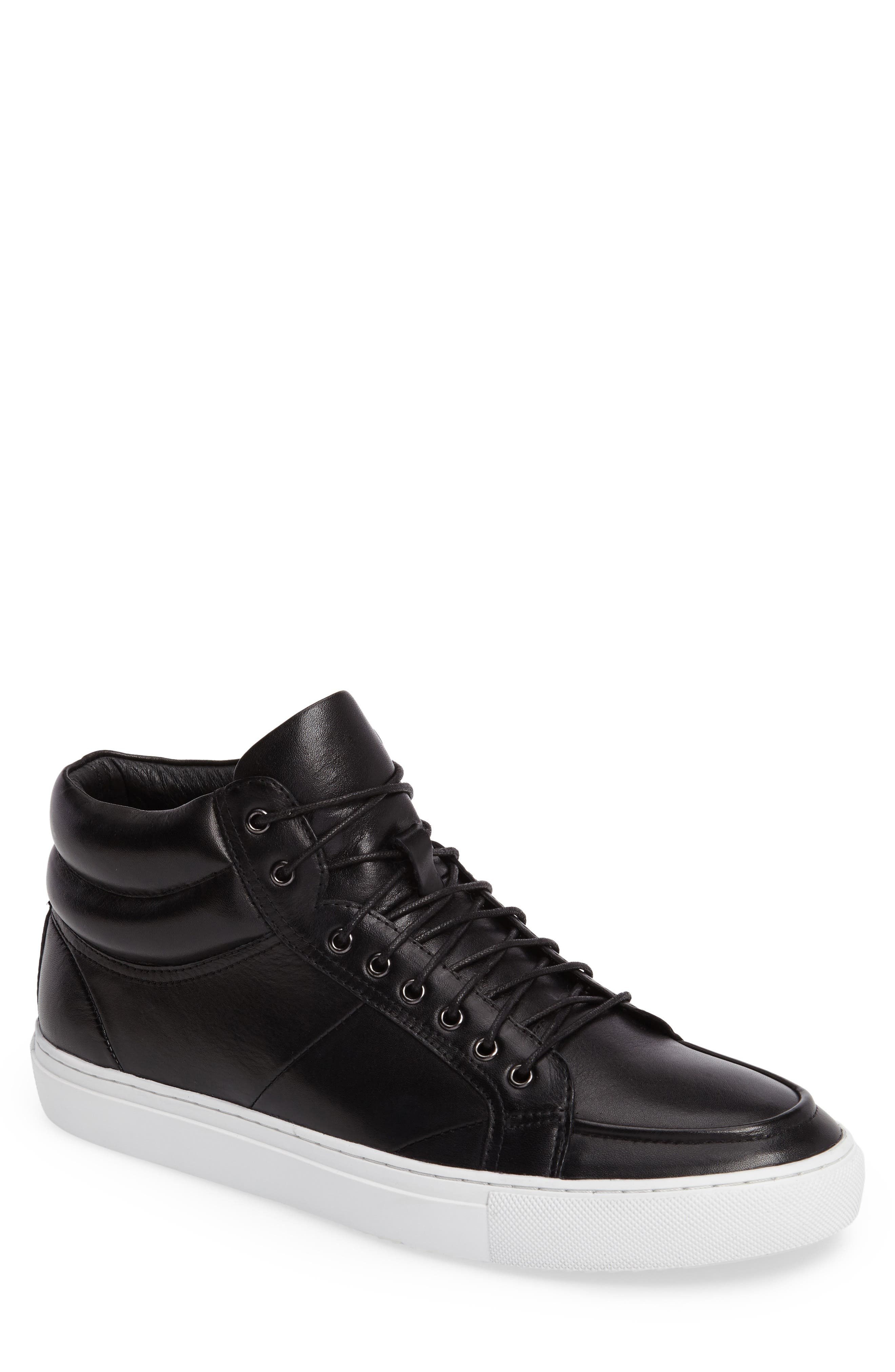 Clef Sneaker,                         Main,                         color, Black Leather