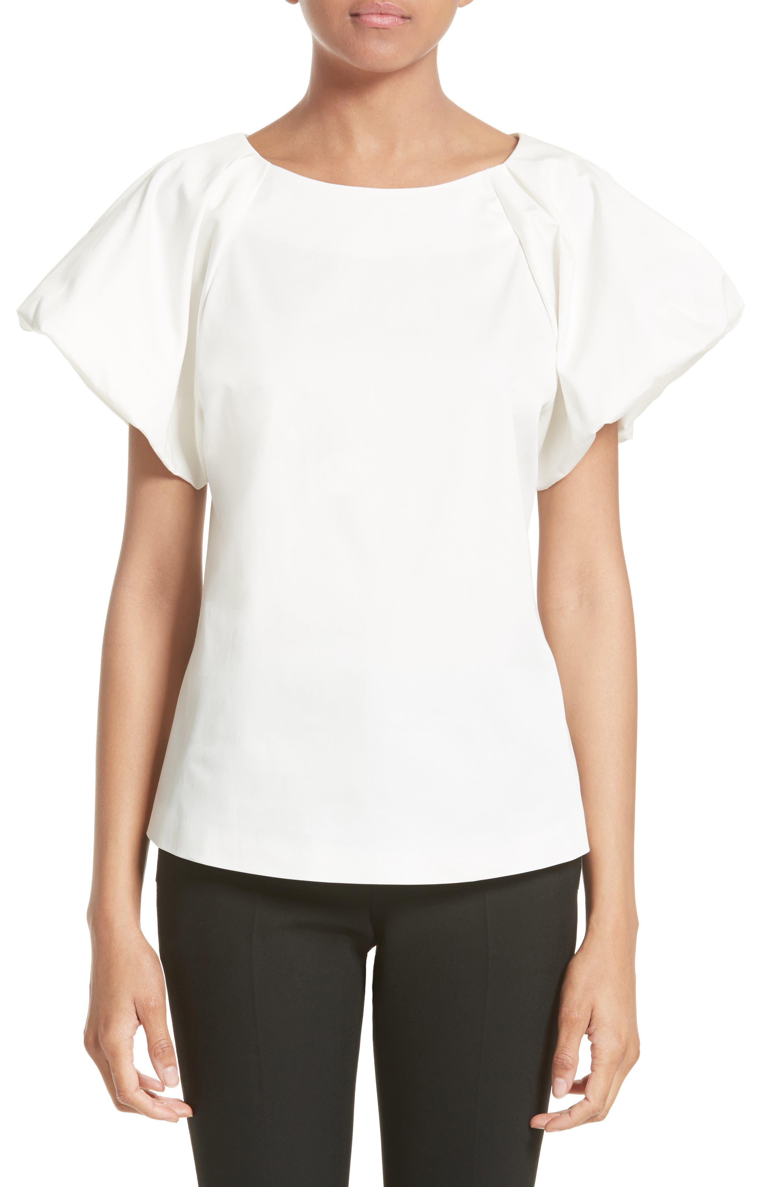 Armani Collezioni Stretch Cotton Puff Sleeve Blouse